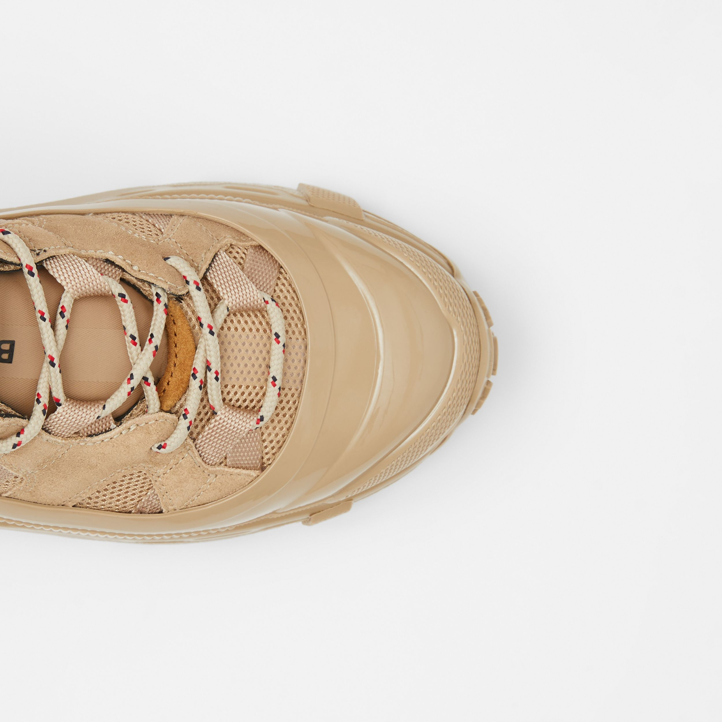 Suede, Mesh and Leather Arthur Sneakers in Beige - Women | Burberry - 2
