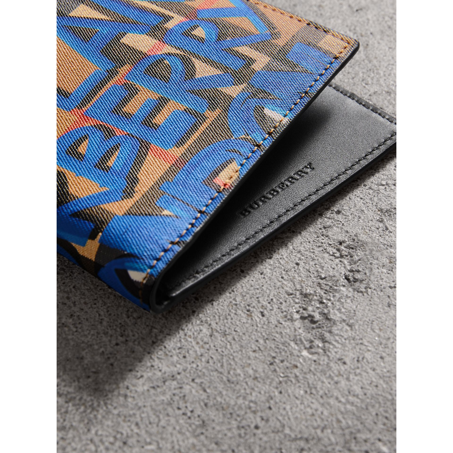 Graffiti Print Vintage Check International Bifold Wallet in Canvas Blue/antique Yellow - Men | Burberry - gallery image 1