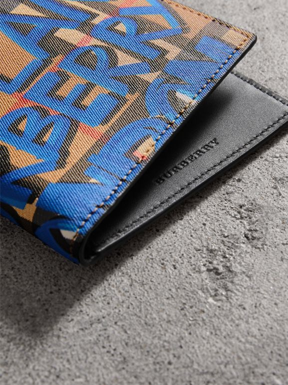 Graffiti Print Vintage Check International Bifold Wallet in Canvas Blue/antique Yellow - Men | Burberry - cell image 1