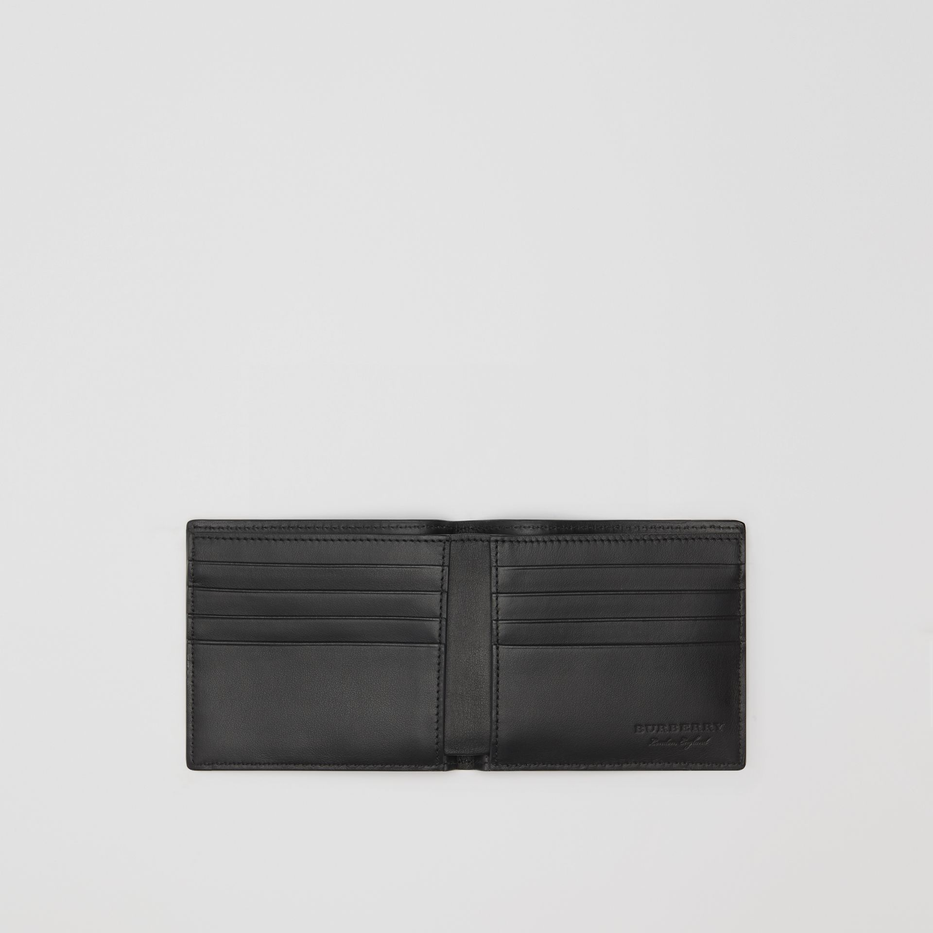 Embossed Leather Bifold Wallet in Black - Men | Burberry Australia - gallery image 3
