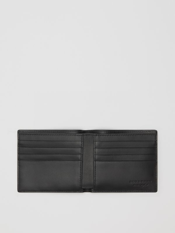 Embossed Leather Bifold Wallet in Black - Men | Burberry Australia - cell image 3