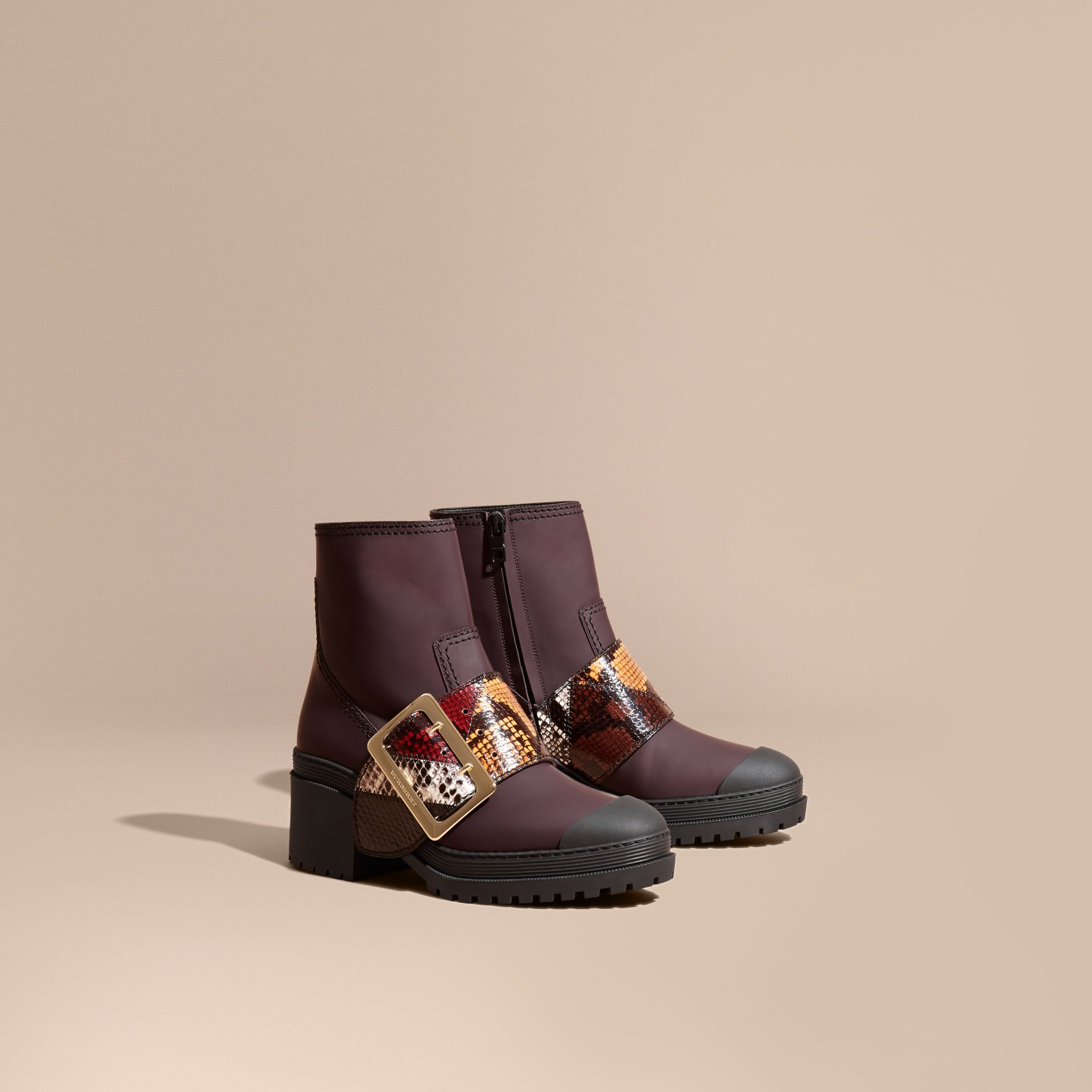 Dark claret The Buckle Boot in Rubberised Leather and Snakeskin - gallery image 1