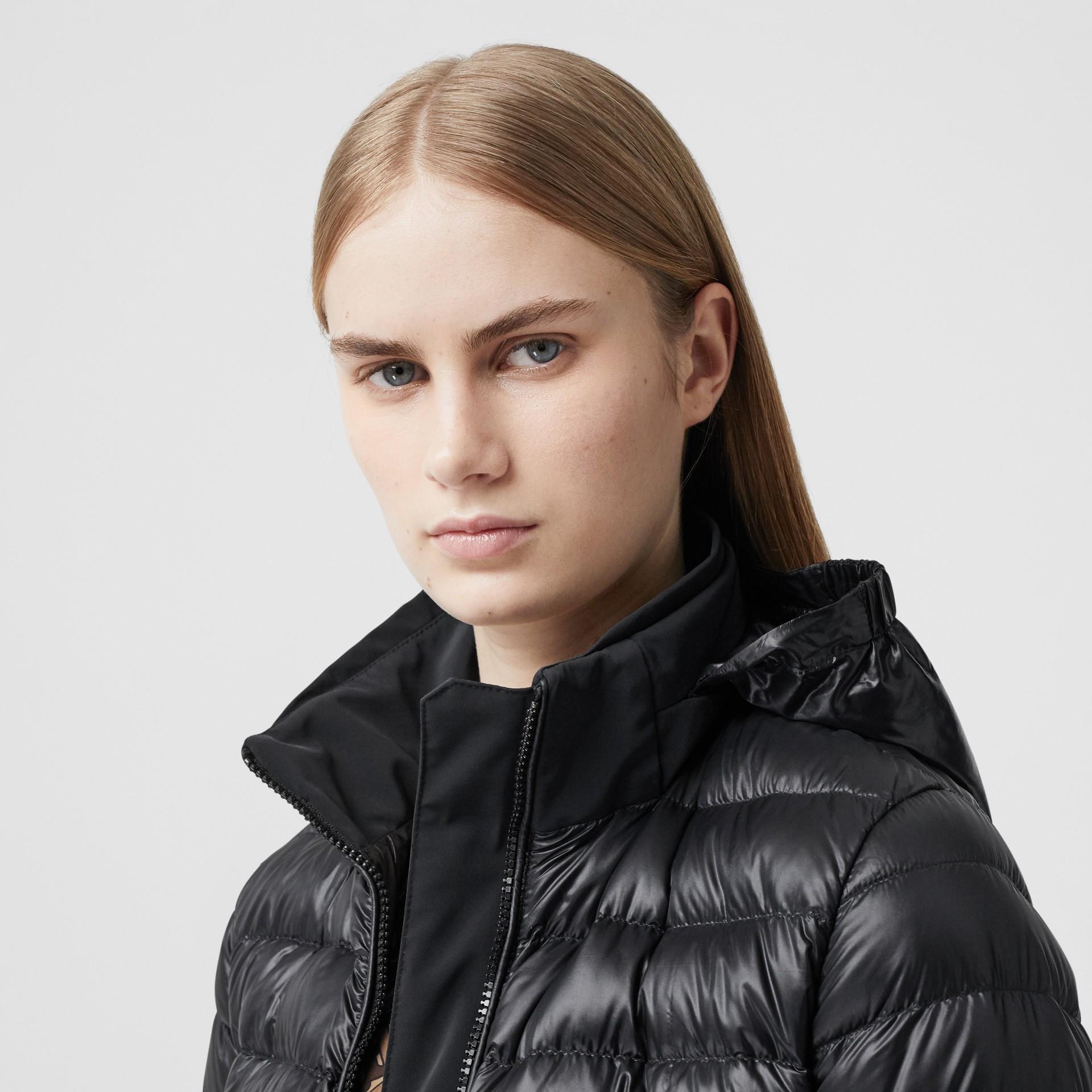 Packaway Hood Peplum Puffer Jacket in Black - Women   Burberry United Kingdom - gallery image 1