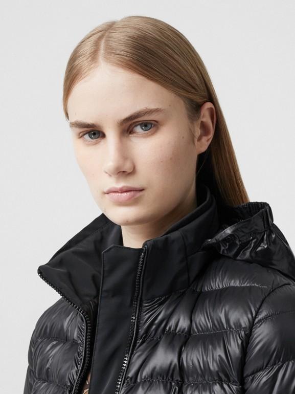 Packaway Hood Peplum Puffer Jacket in Black - Women   Burberry United Kingdom - cell image 1