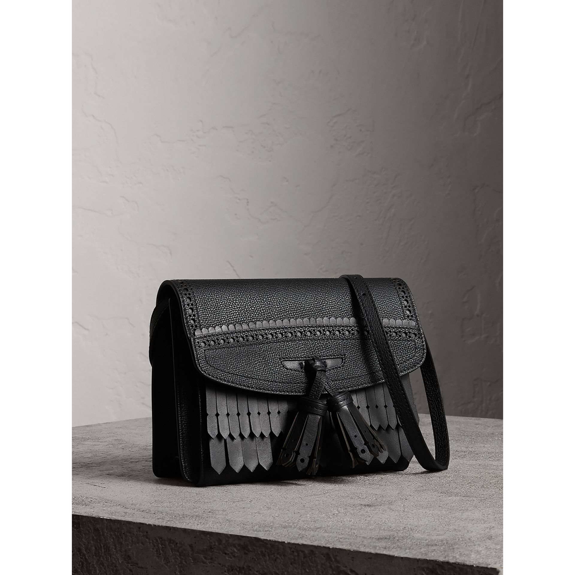 Brogue and Fringe Detail Leather Crossbody Bag in Black - Women | Burberry - gallery image 5