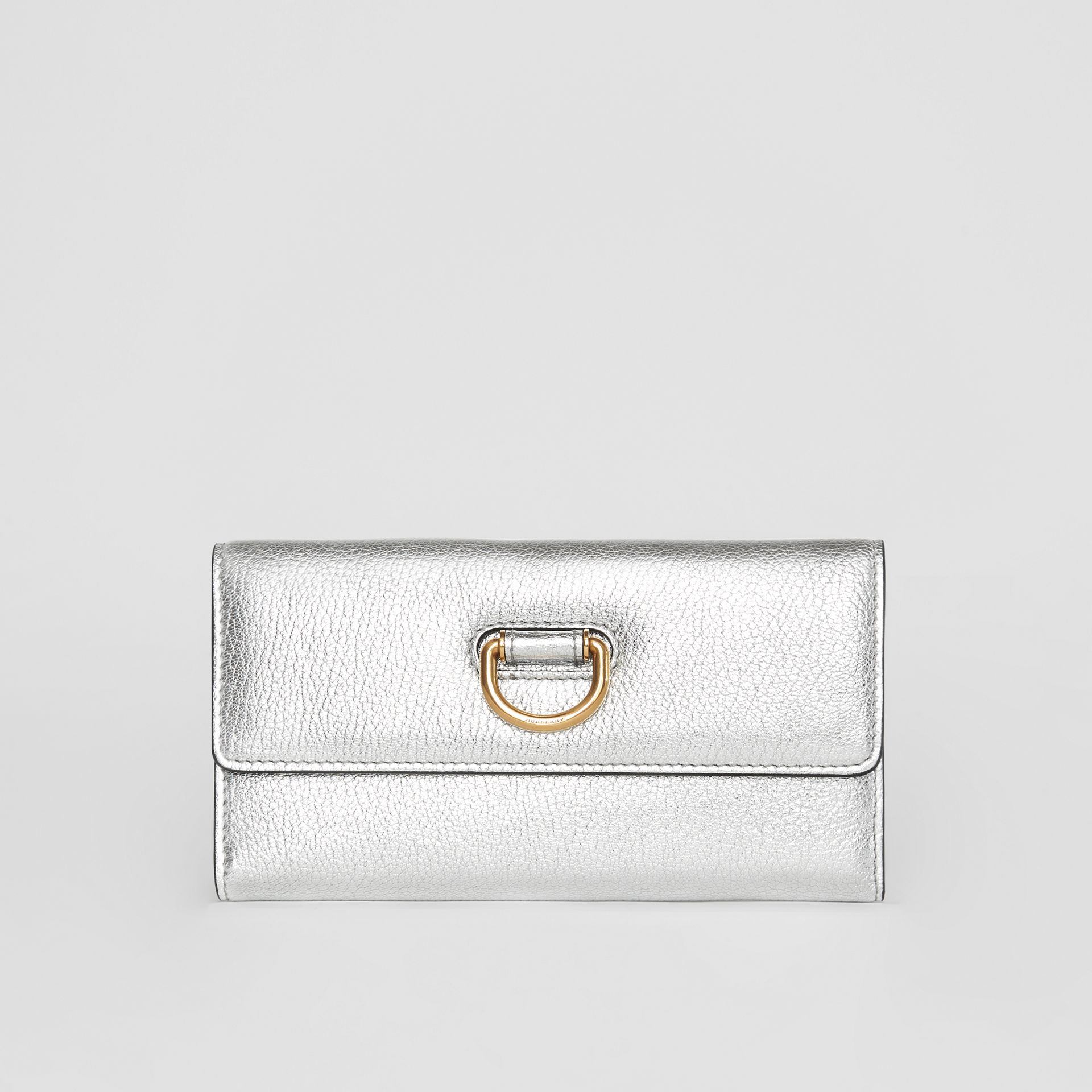 D-ring Metallic Leather Continental Wallet in Silver - Women | Burberry - gallery image 0