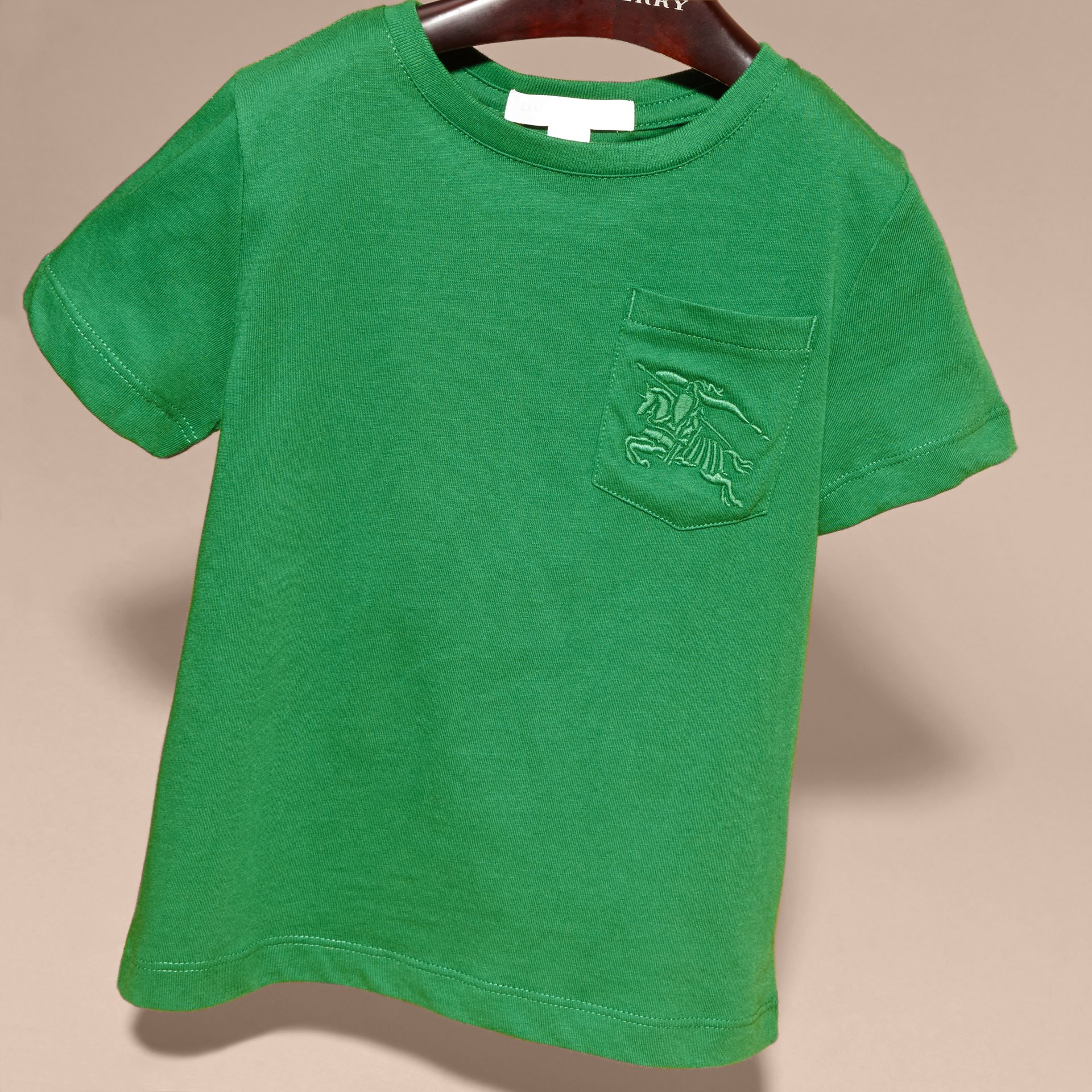 Crew Neck Cotton T-shirt in Bright Pigment Green - gallery image 3