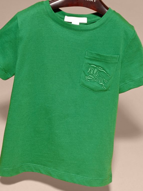 Crew Neck Cotton T-shirt in Bright Pigment Green - cell image 2