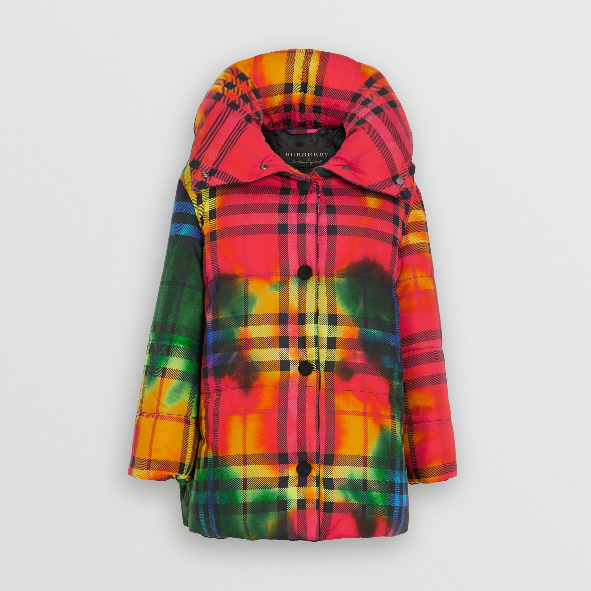 Tie-dye Vintage Check Down-filled Puffer Coat in Bright Red - Women | Burberry - gallery image 3