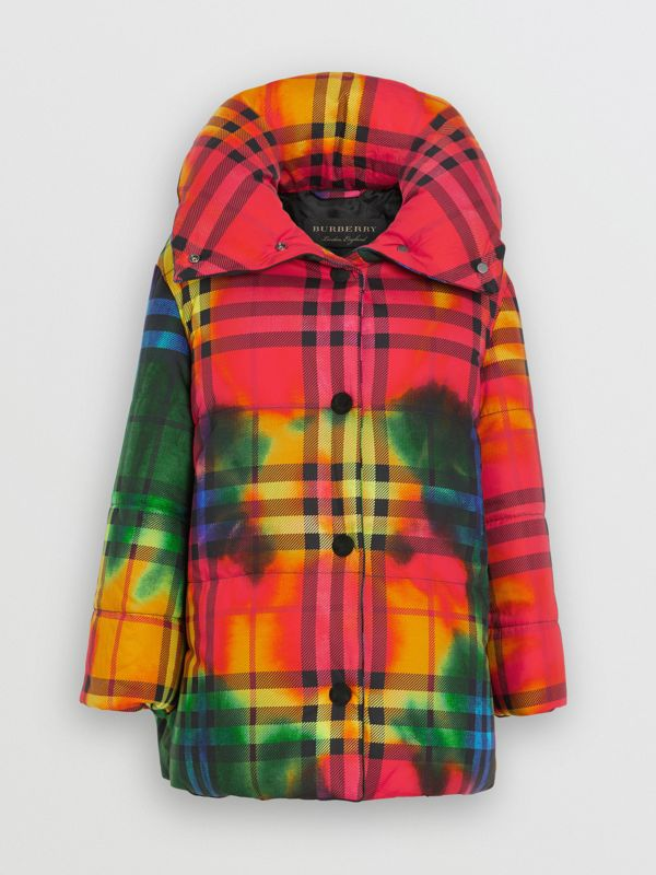 Tie-dye Vintage Check Down-filled Puffer Coat in Bright Red - Women | Burberry - cell image 3
