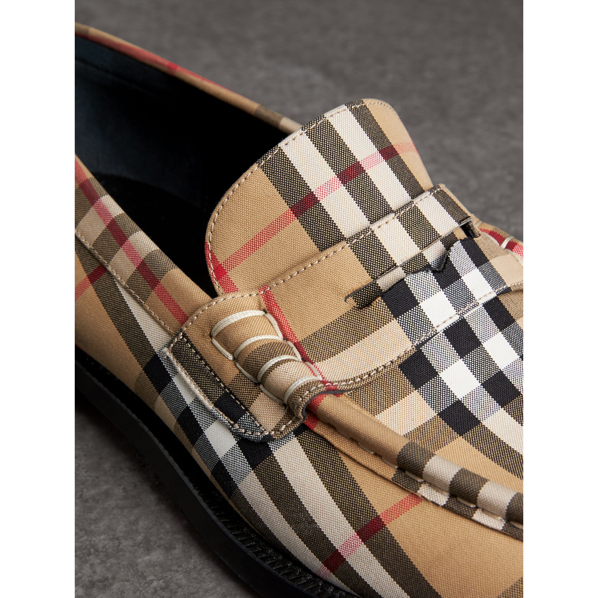 Vintage Check Cotton Loafers in Antique Yellow - Men | Burberry - gallery image 1