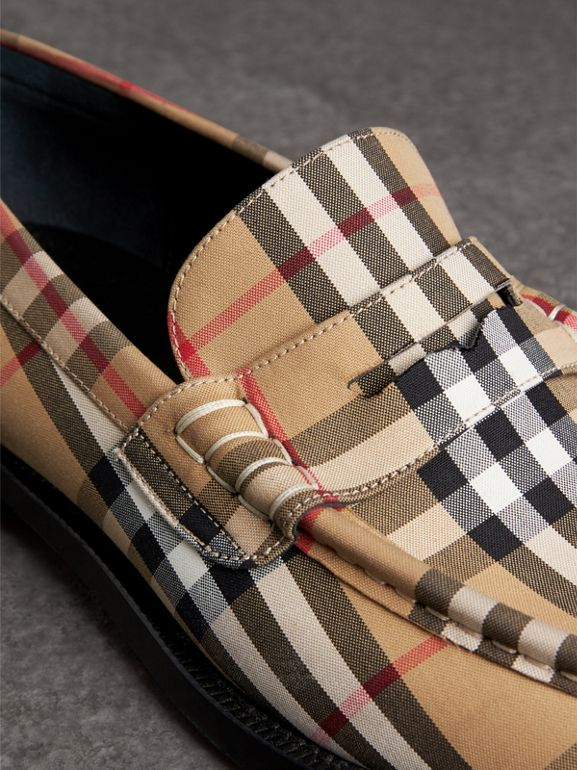 Vintage Check Cotton Loafers in Antique Yellow - Men | Burberry - cell image 1