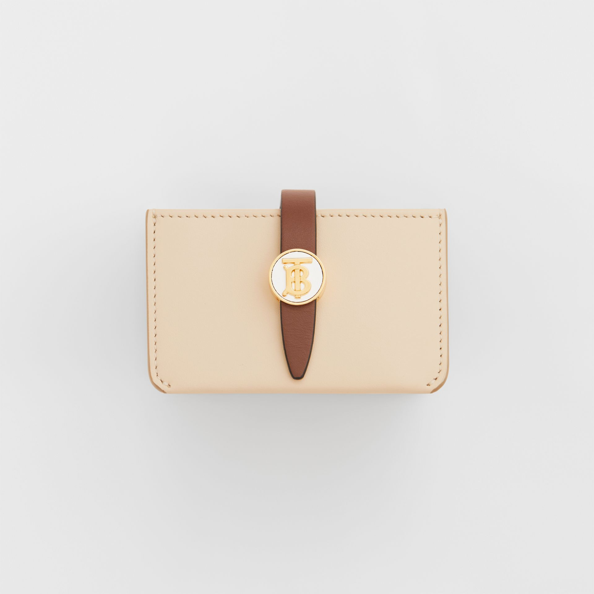 Monogram Motif Colour Block Leather Card Case in Tan/pale Copper/peony Pink - Women | Burberry - gallery image 2