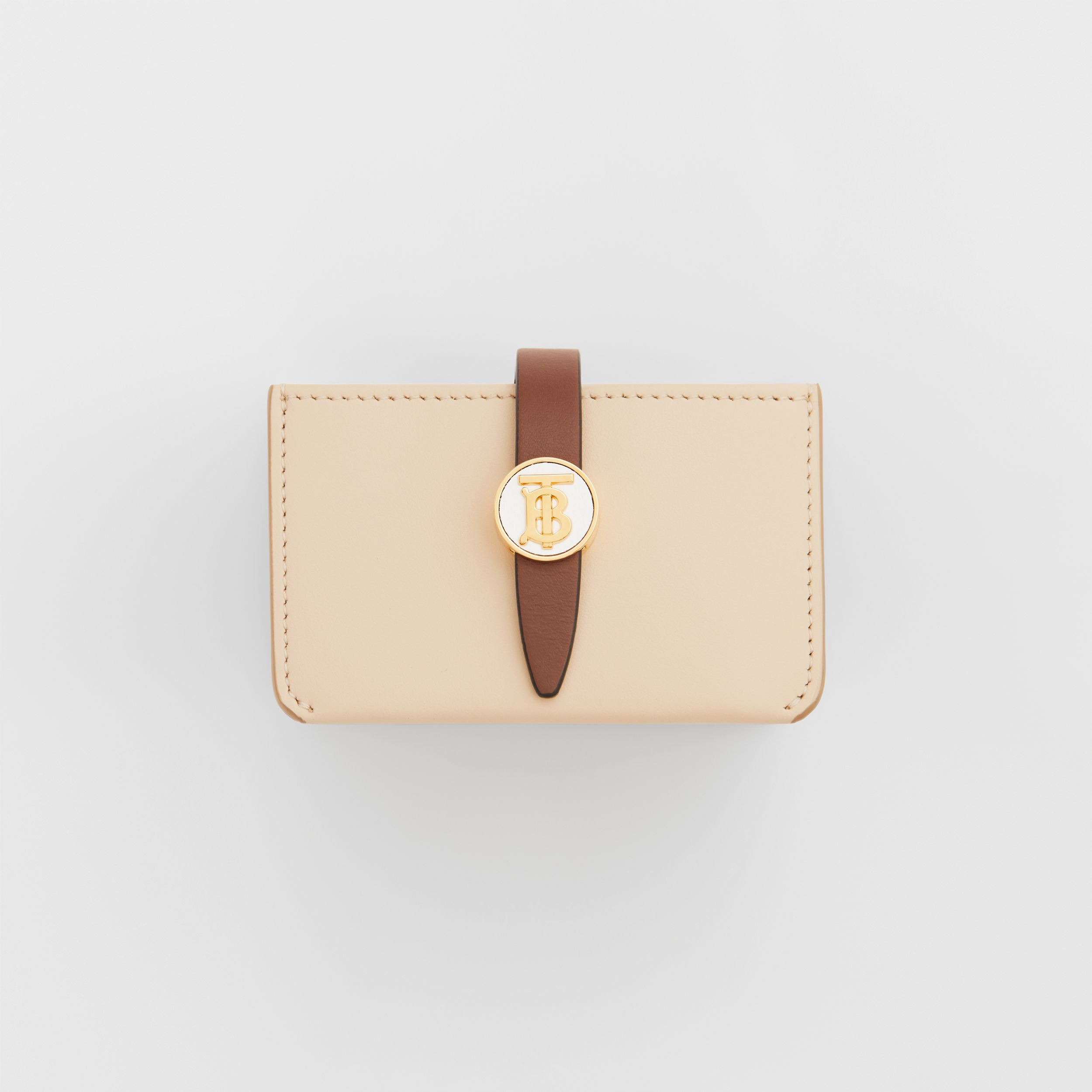 Monogram Motif Colour Block Leather Card Case in Tan/pale Copper/peony Pink - Women | Burberry - 3