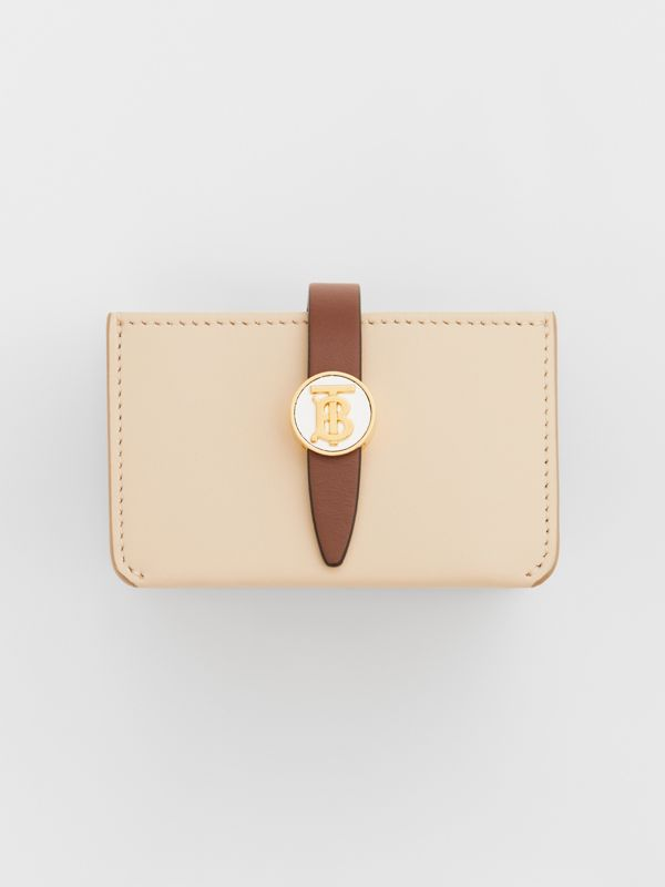Monogram Motif Colour Block Leather Card Case in Tan/pale Copper/peony Pink - Women | Burberry - cell image 2