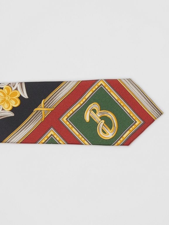 Modern Cut Archive Scarf Print Silk Tie in Dark Green - Men | Burberry United States - cell image 1