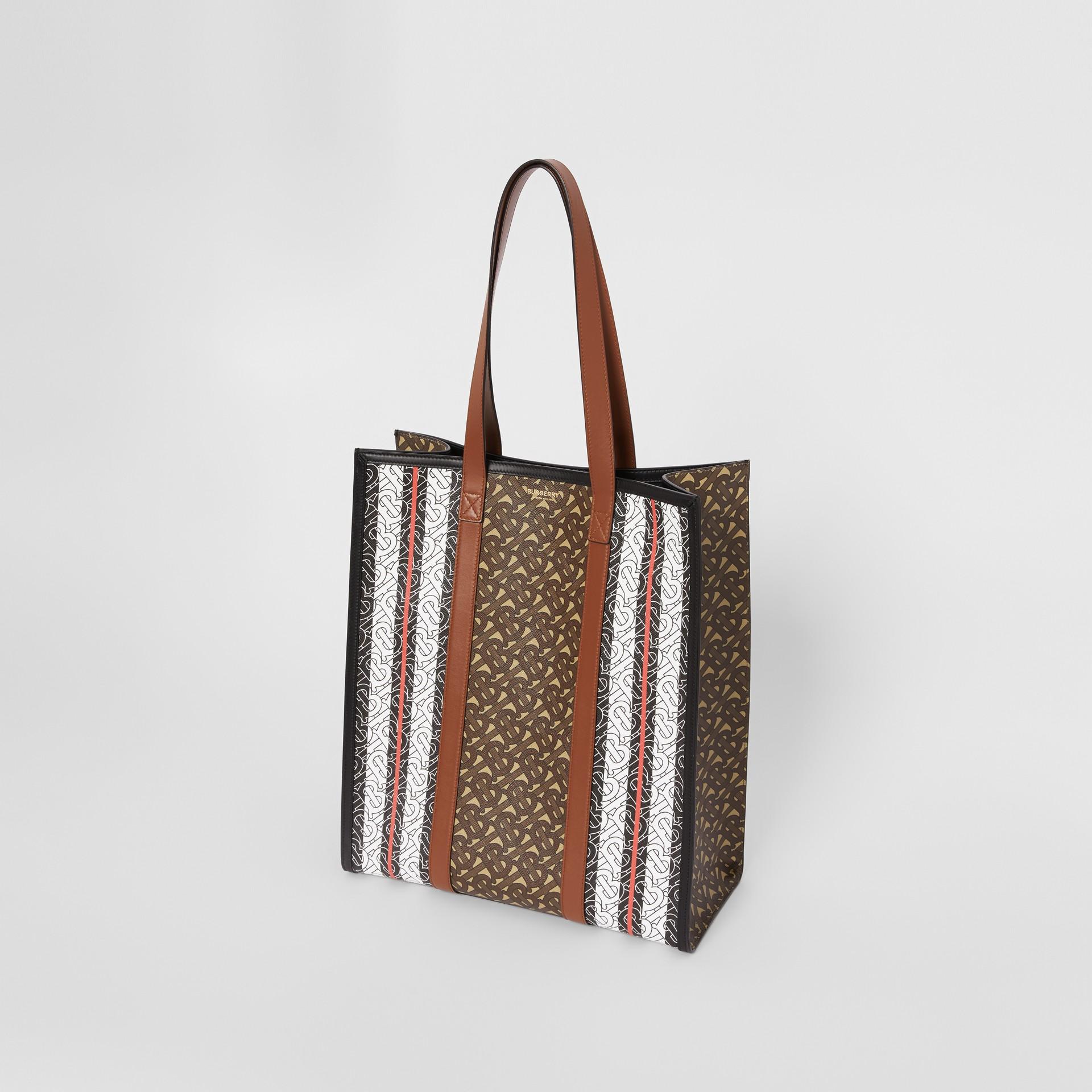 Monogram Stripe E-canvas Portrait Tote Bag in Bridle Brown - Women | Burberry - gallery image 4