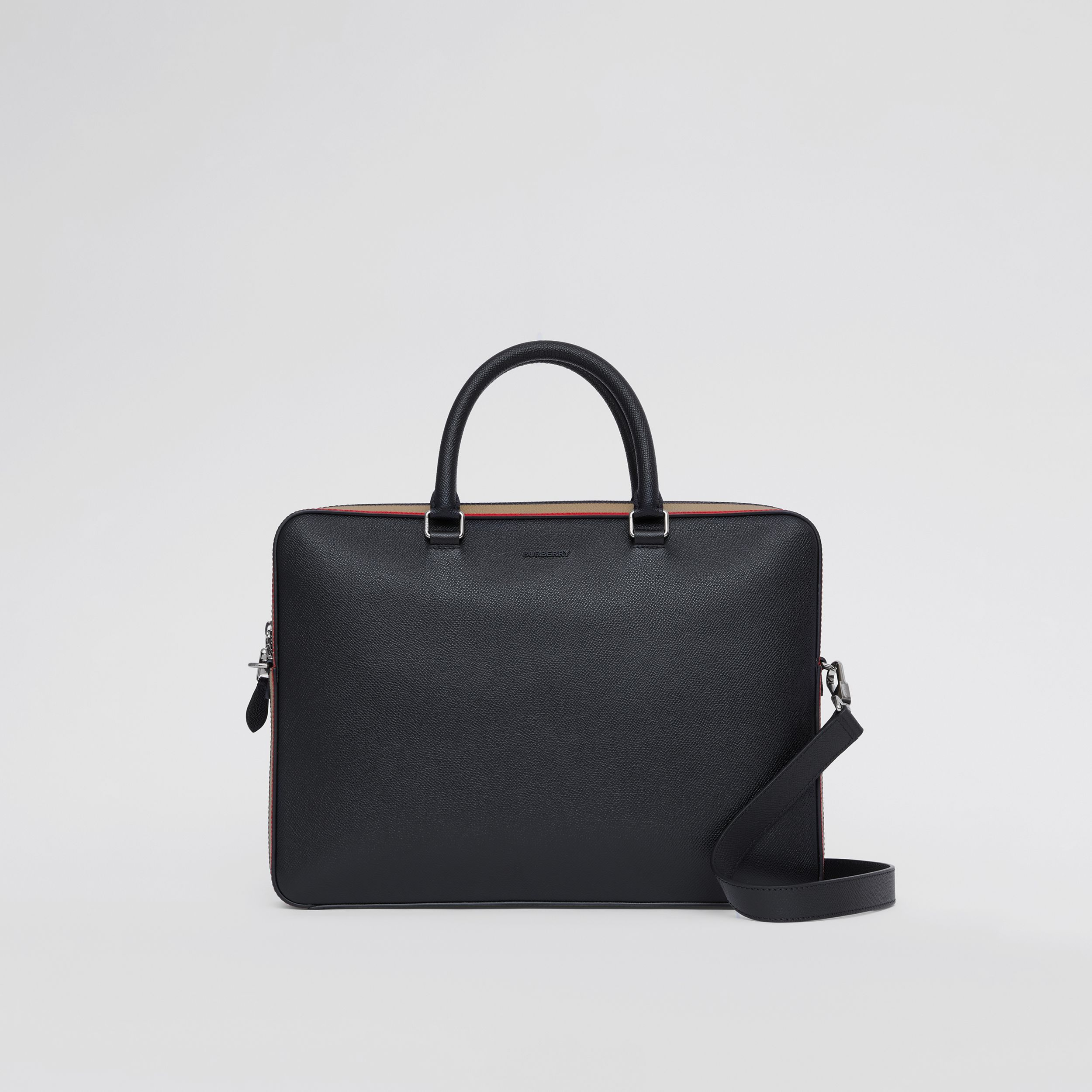 Icon Stripe Print Grainy Leather Briefcase in Black - Men | Burberry United States - 1