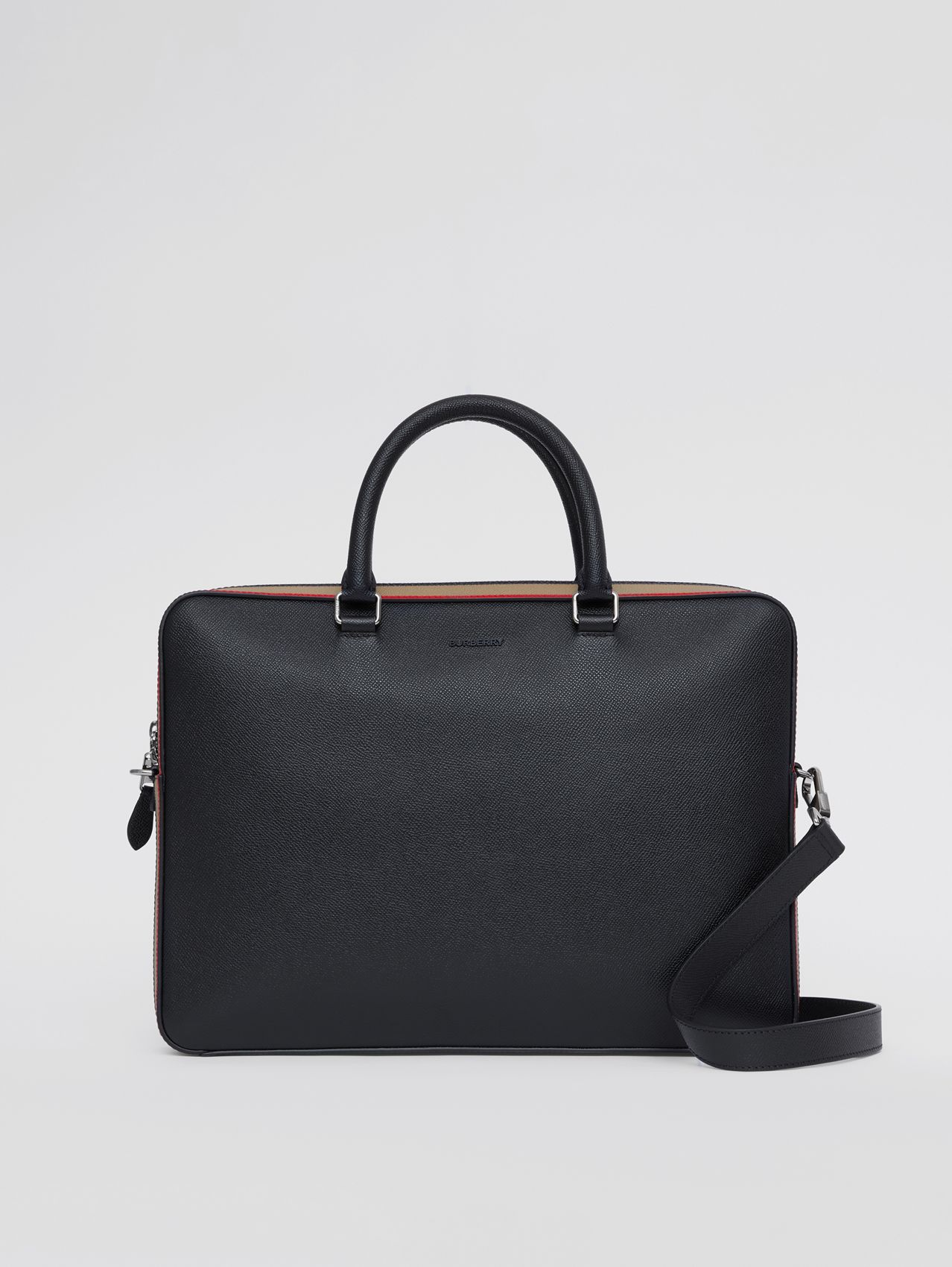 Icon Stripe Print Grainy Leather Briefcase in Black