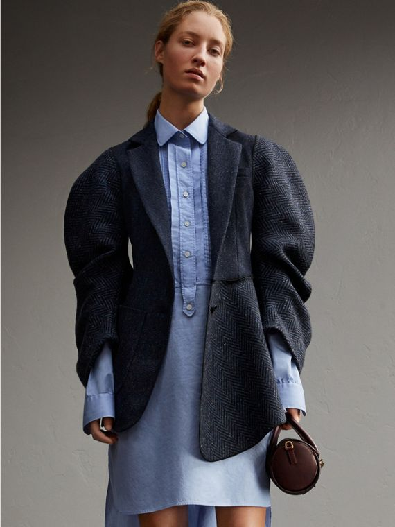 Voluminous-sleeve Herringbone Wool Coat