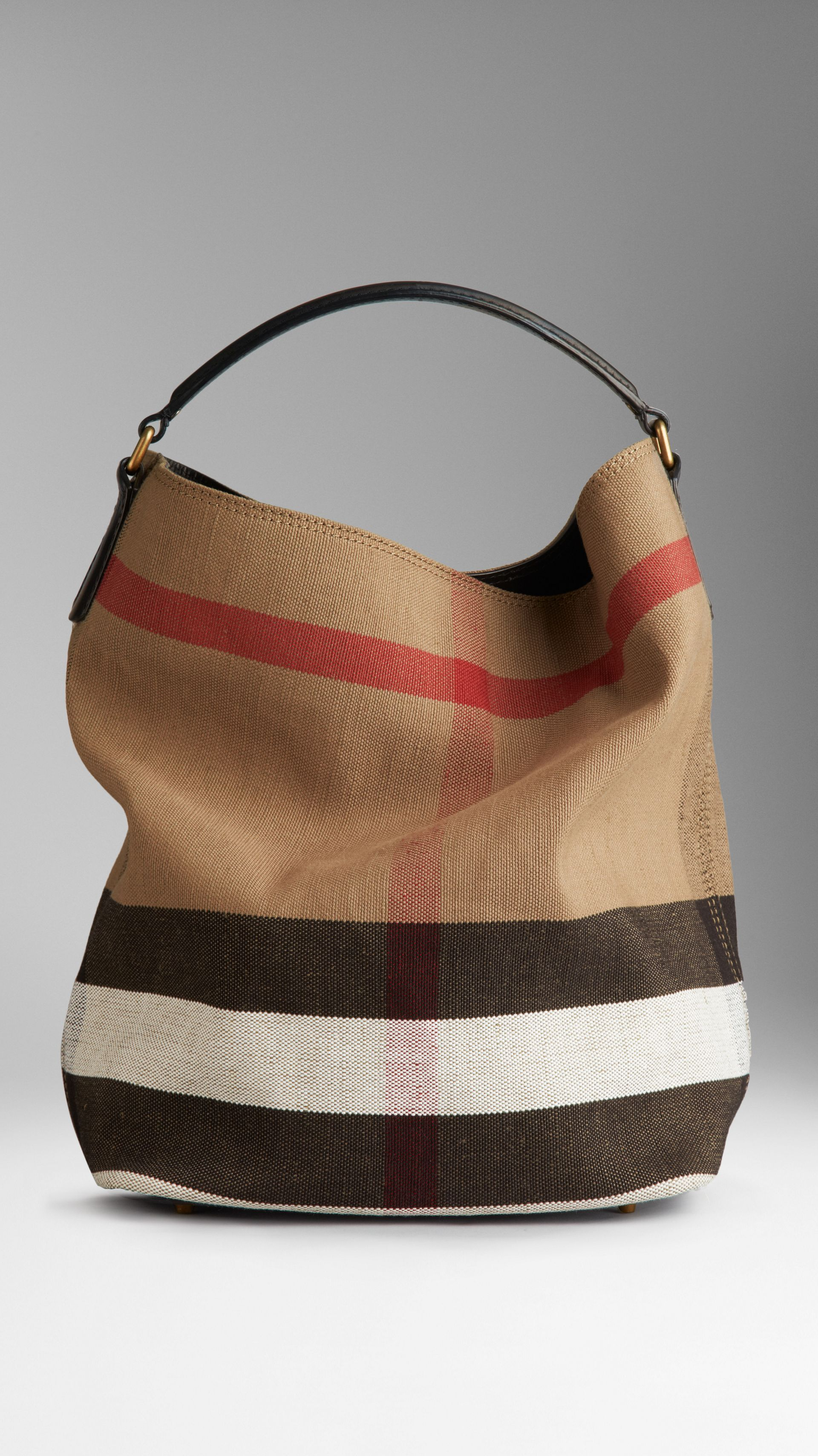 Medium Canvas Check Hobo Bag in Black - Women | Burberry - gallery image 1