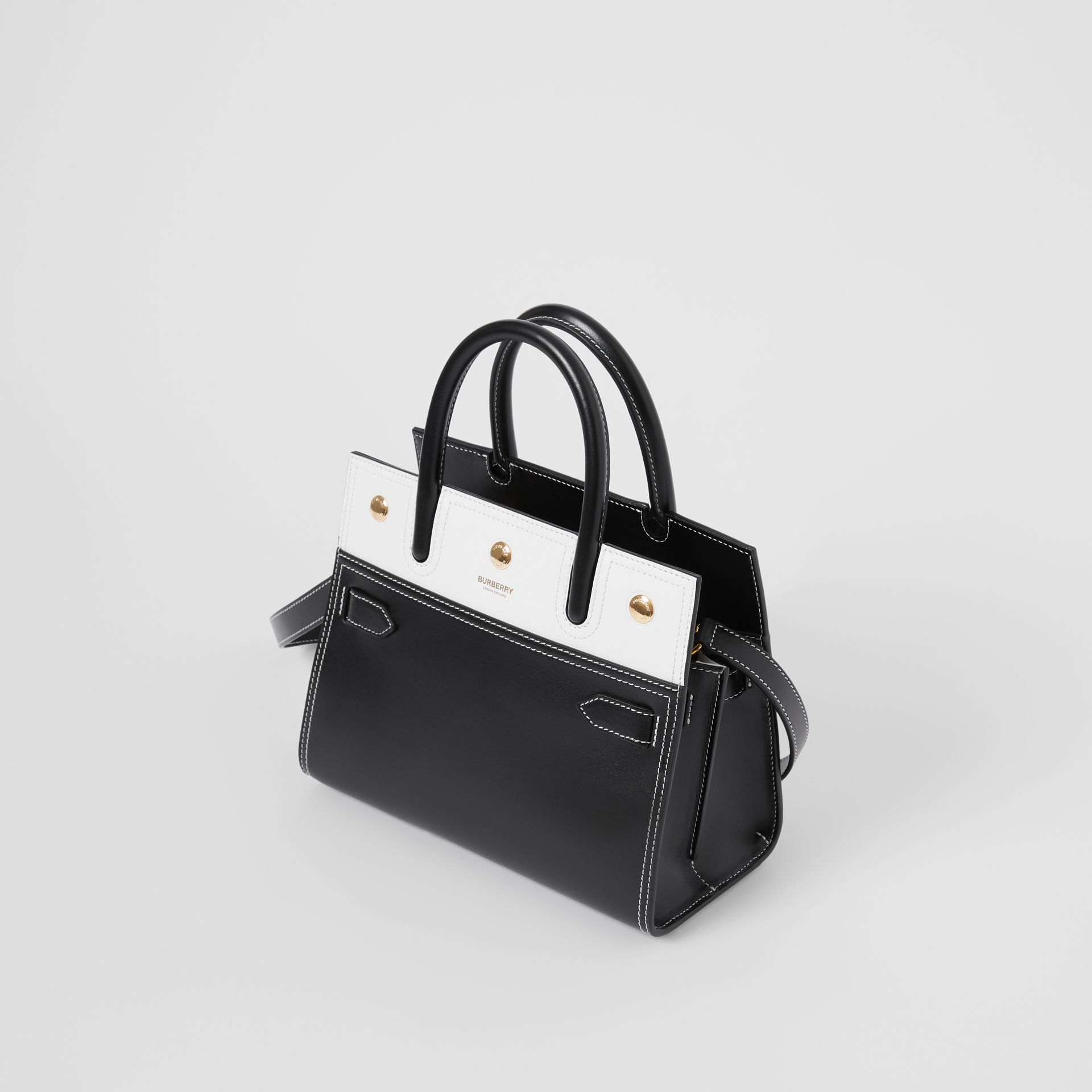 Mini Leather Two-handle Title Bag in Black/white - Women | Burberry - gallery image 2