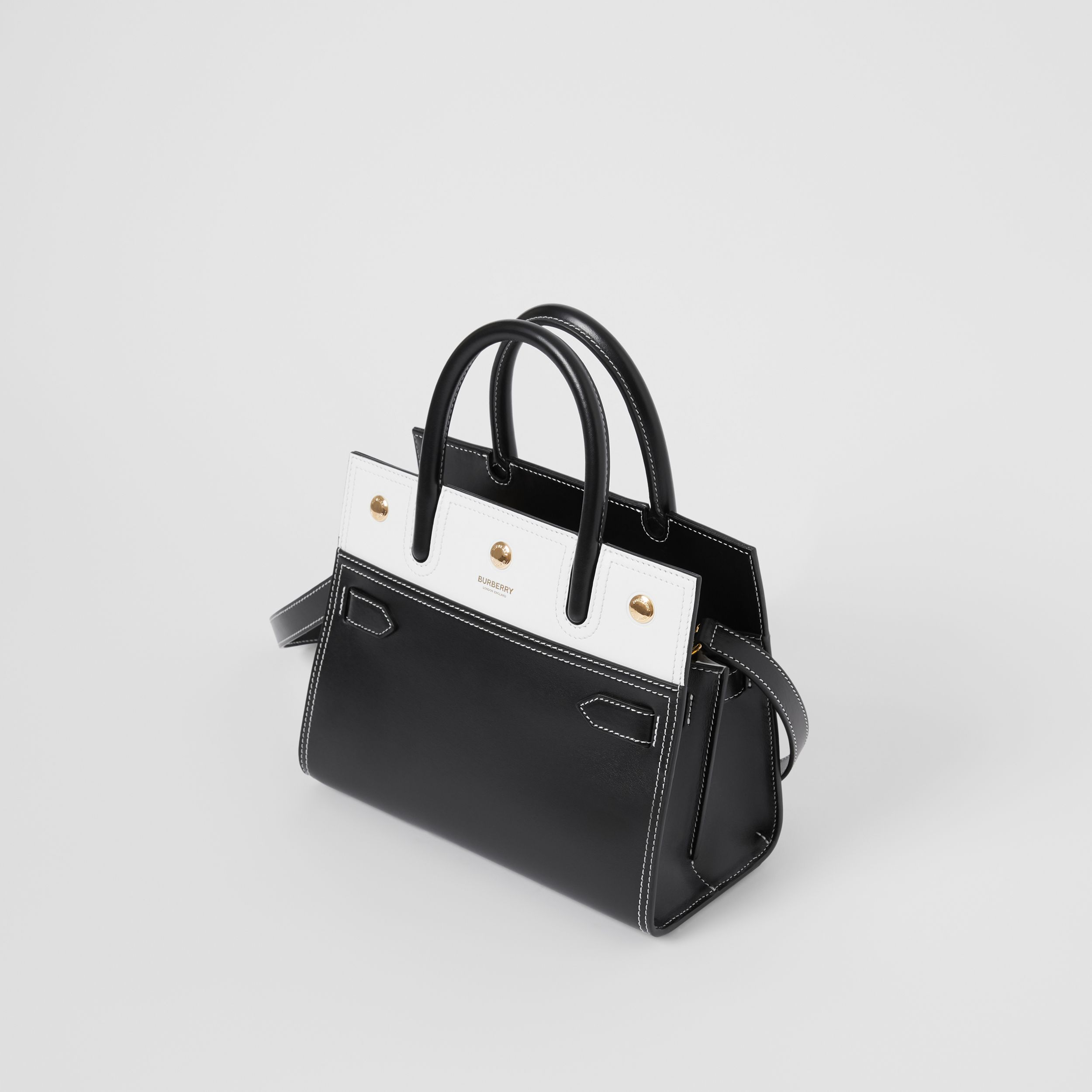 Mini Leather Two-handle Title Bag in Black/white - Women | Burberry Hong Kong S.A.R. - 3
