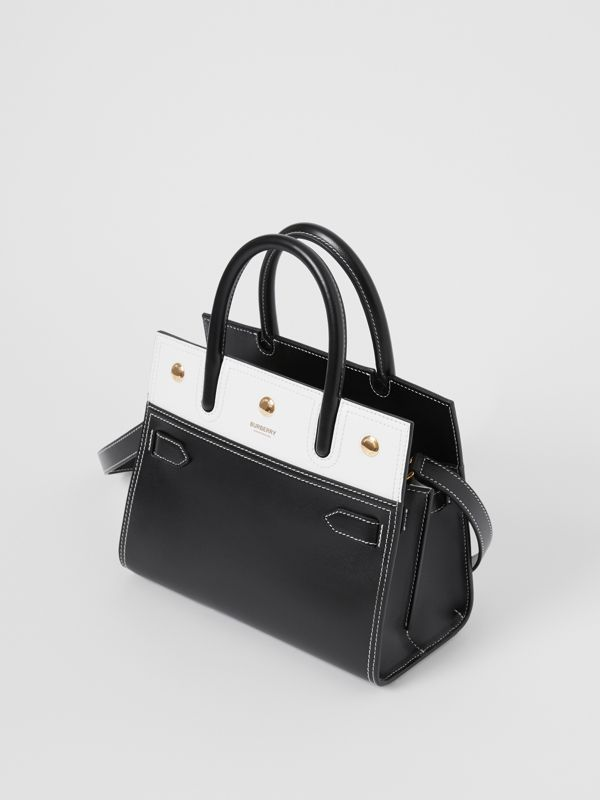 Mini Leather Two-handle Title Bag in Black/white - Women | Burberry - cell image 2