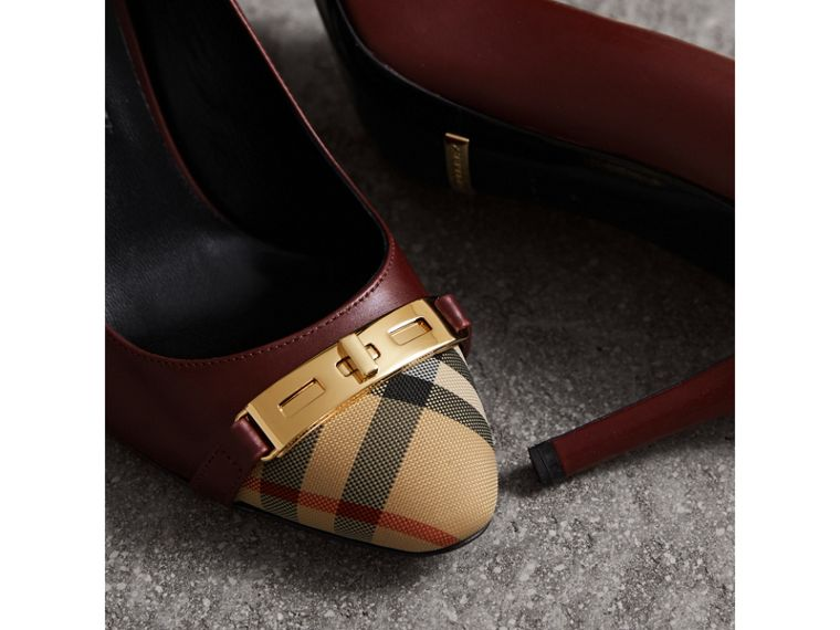 Horseferry Check Leather Pumps in Oxblood - Women | Burberry Singapore - cell image 1