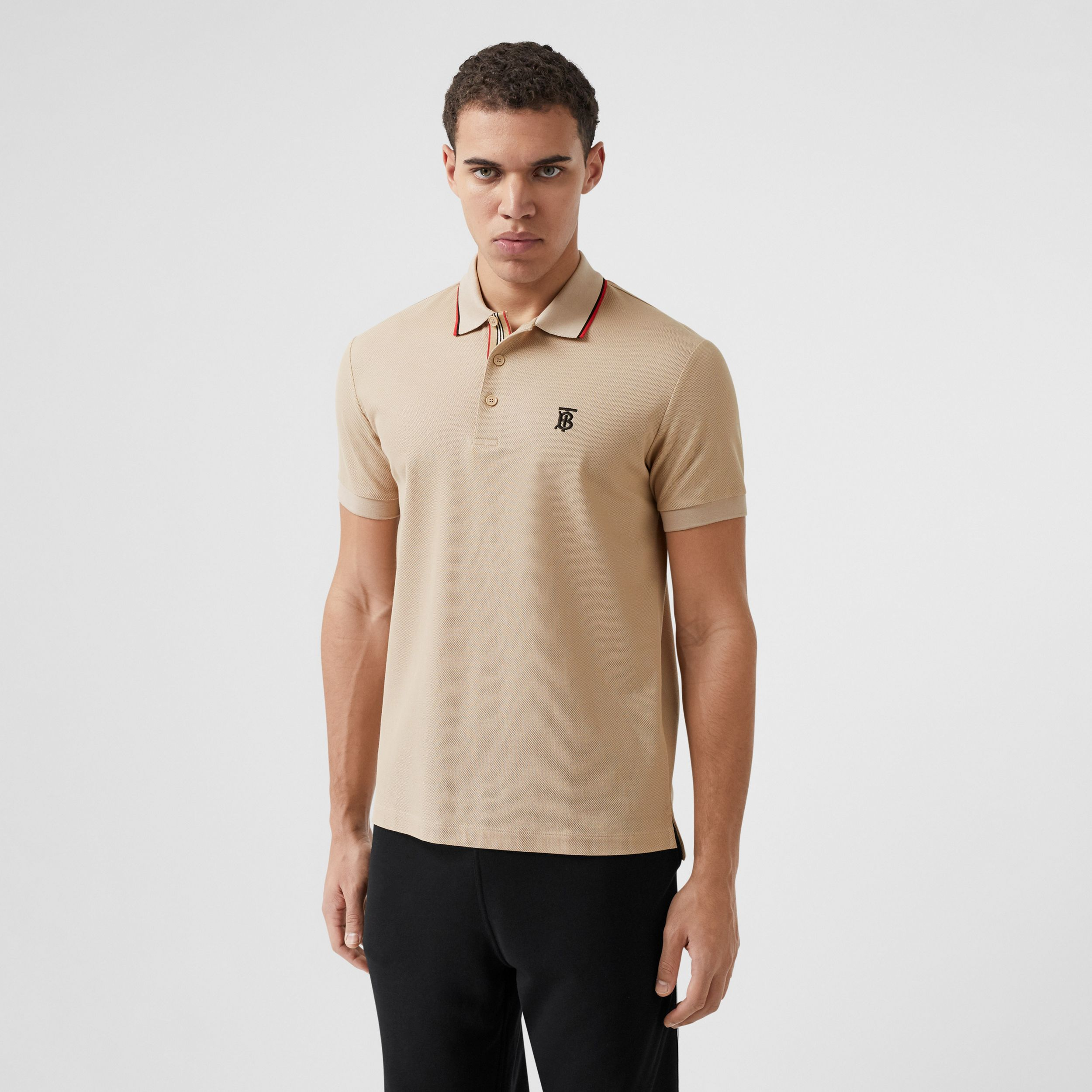 Monogram Motif Cotton Piqué Polo Shirt in Soft Fawn - Men | Burberry - 1