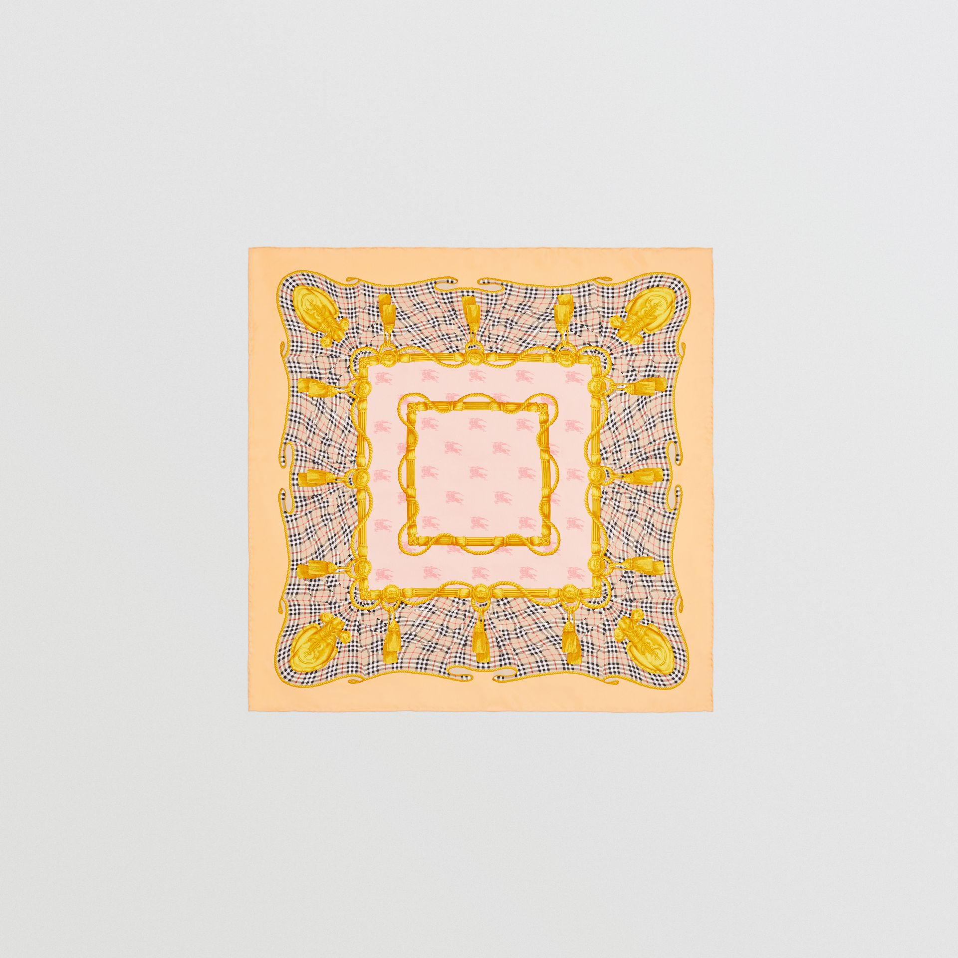 Archive Scarf Print Silk Square Scarf in Apricot Pink - Women | Burberry - gallery image 0