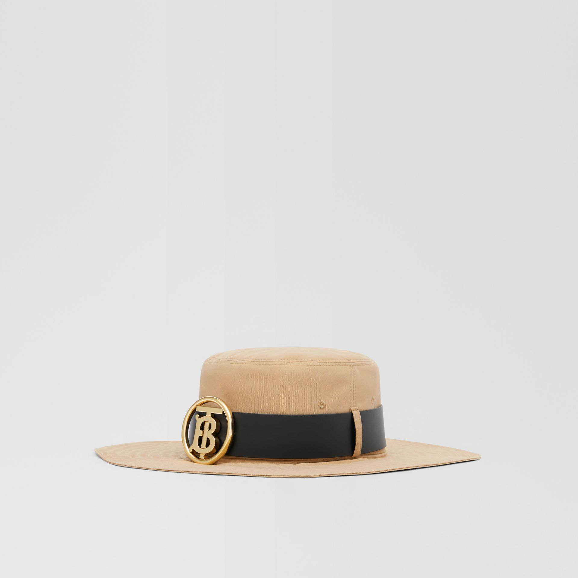 Monogram Motif Leather Belt Detail Cotton Desert Hat in Honey | Burberry Canada - gallery image 5