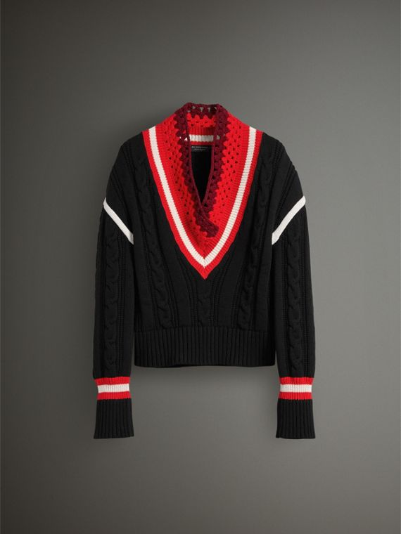 Crochet Collar Wool Cashmere Cricket Sweater in Black - Women | Burberry Singapore - cell image 3