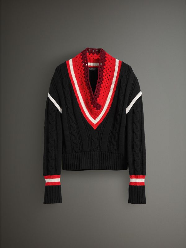 Crochet Collar Wool Cashmere Cricket Sweater in Black - Women | Burberry - cell image 3