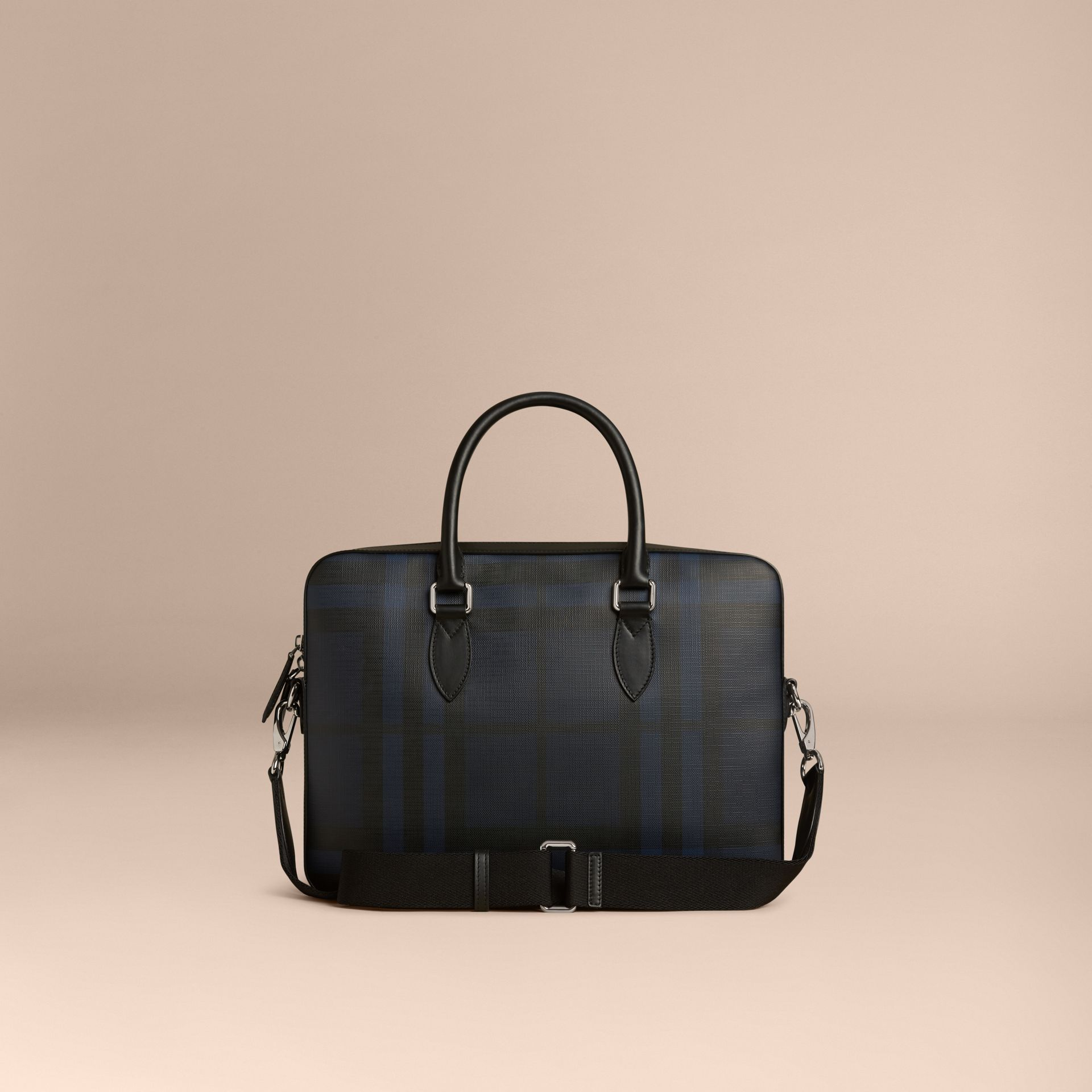 Medium Leather Trim London Check Briefcase in Navy/black - Men | Burberry Australia - gallery image 7
