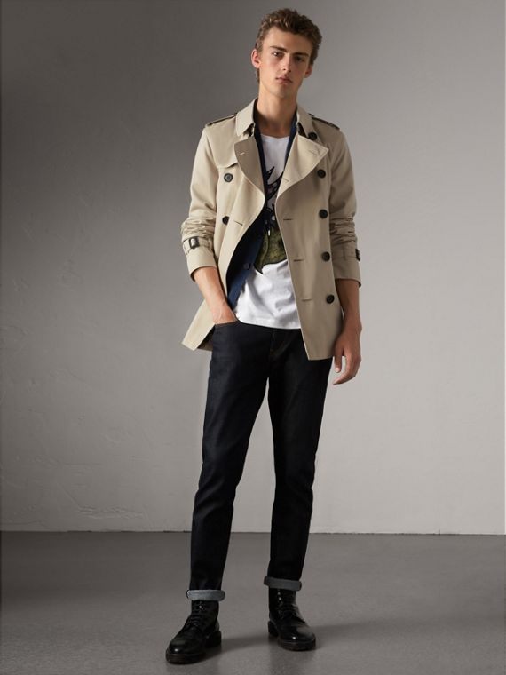 The Kensington – Short Trench Coat in Stone