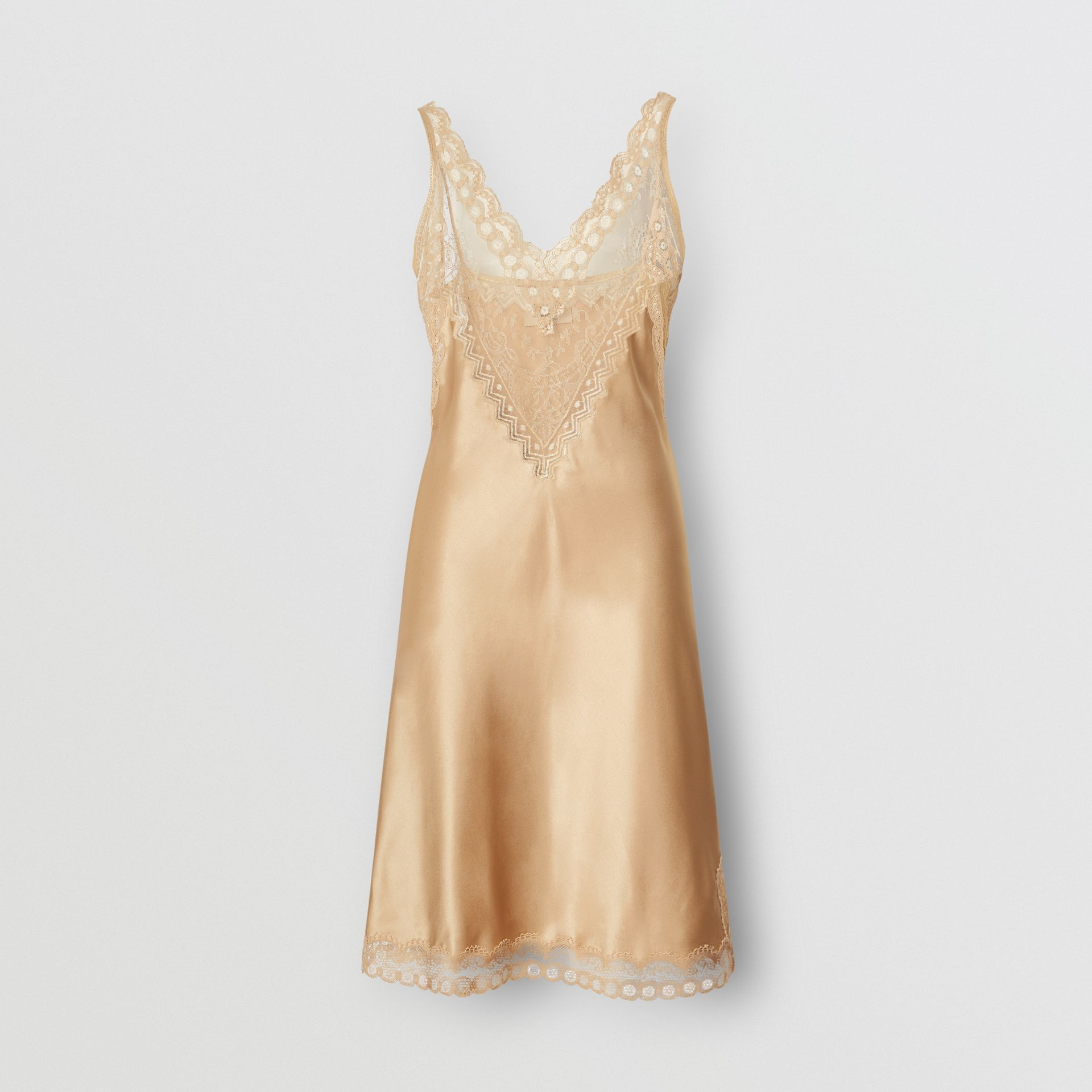 Lace Detail Silk Slip Dress in Honey - Women | Burberry Australia - gallery image 0