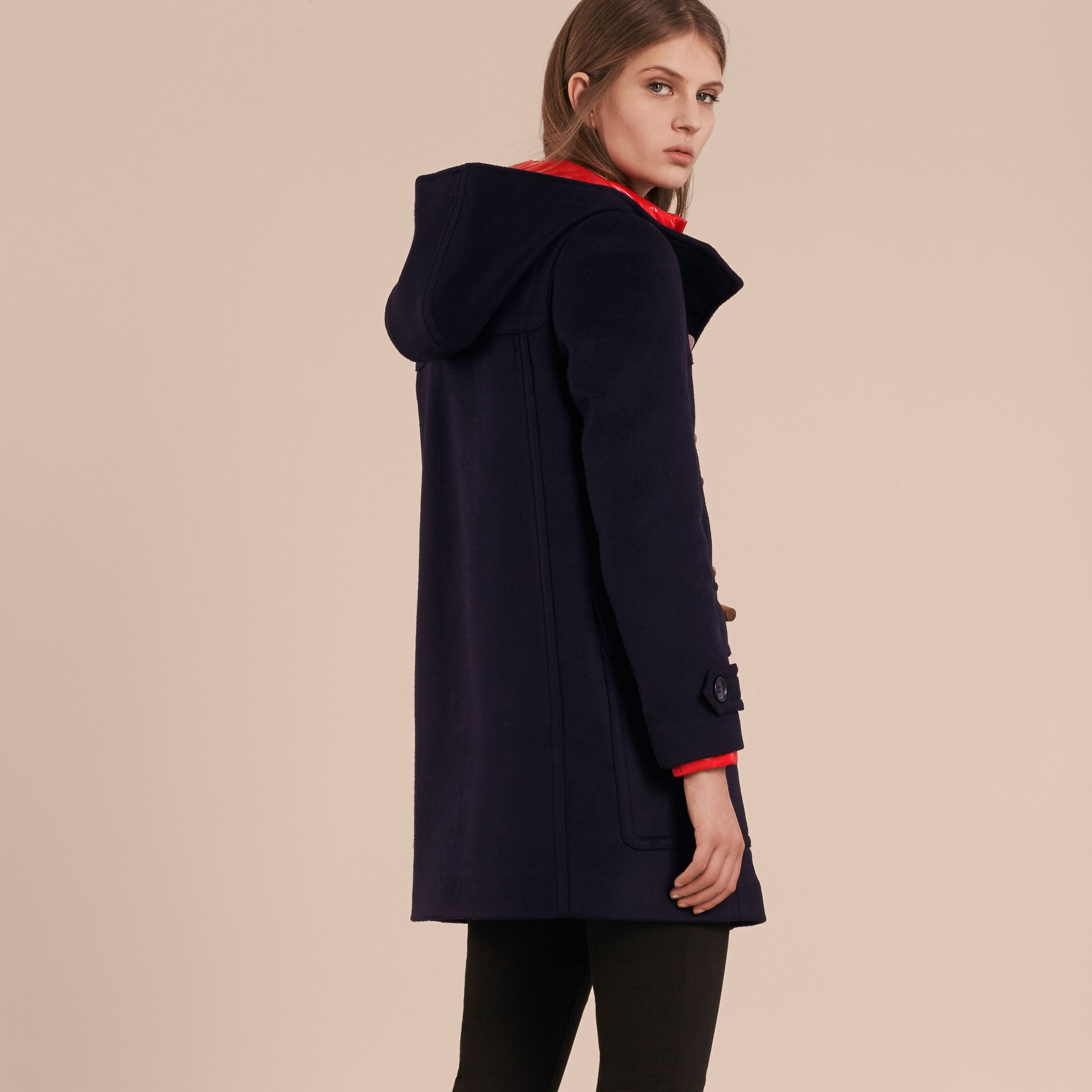 Navy check Wool Duffle Coat with Detachable Hooded Down-filled Warmer Navy Check - gallery image 3