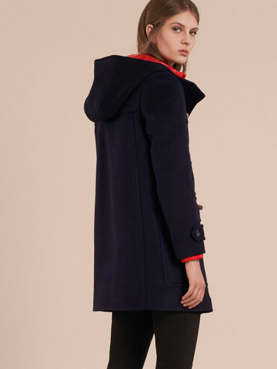 Wool Duffle Coat with Detachable Hooded Down-filled Warmer in Navy Check - cell image 2