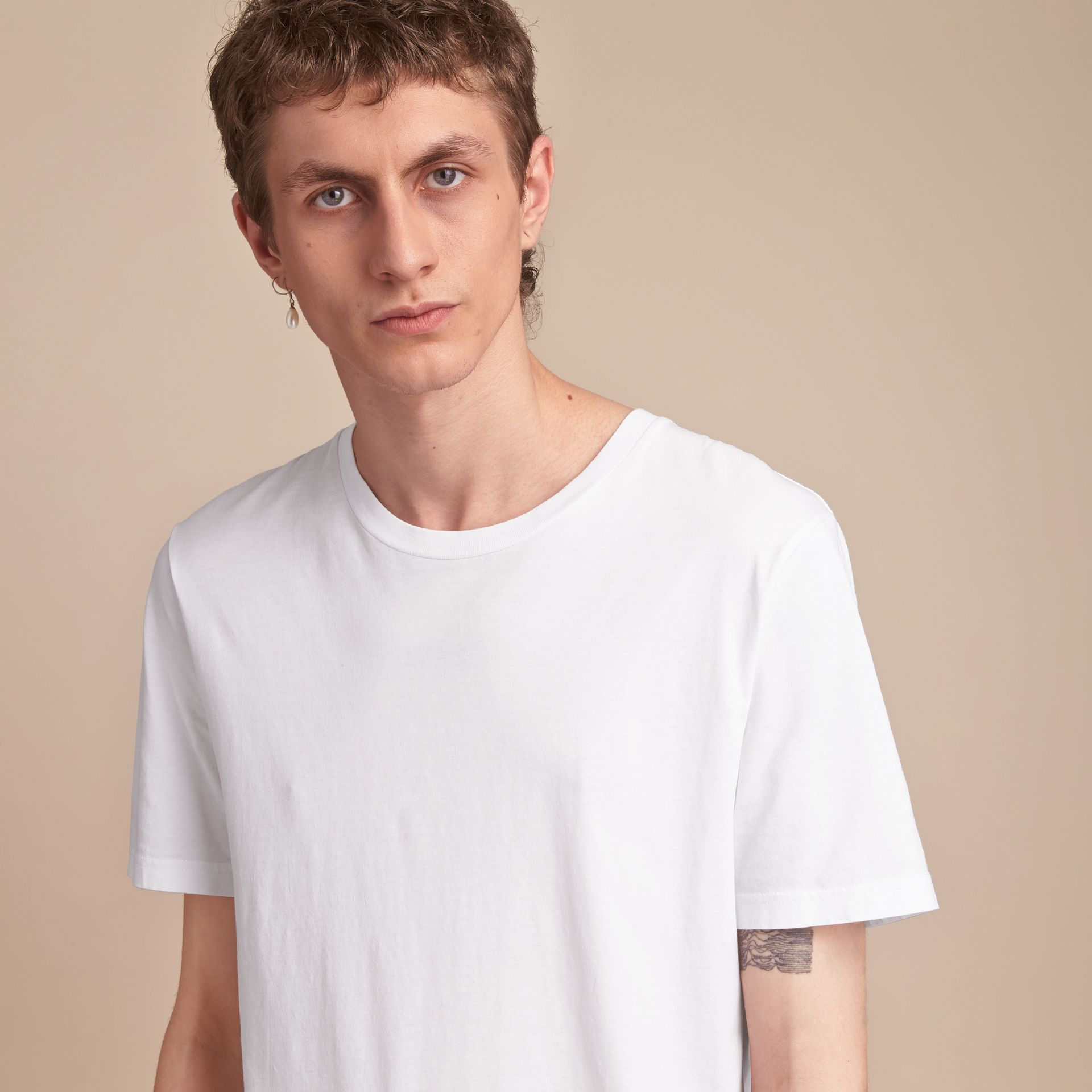 Cotton Jersey Long T-shirt - Men | Burberry Singapore - gallery image 5