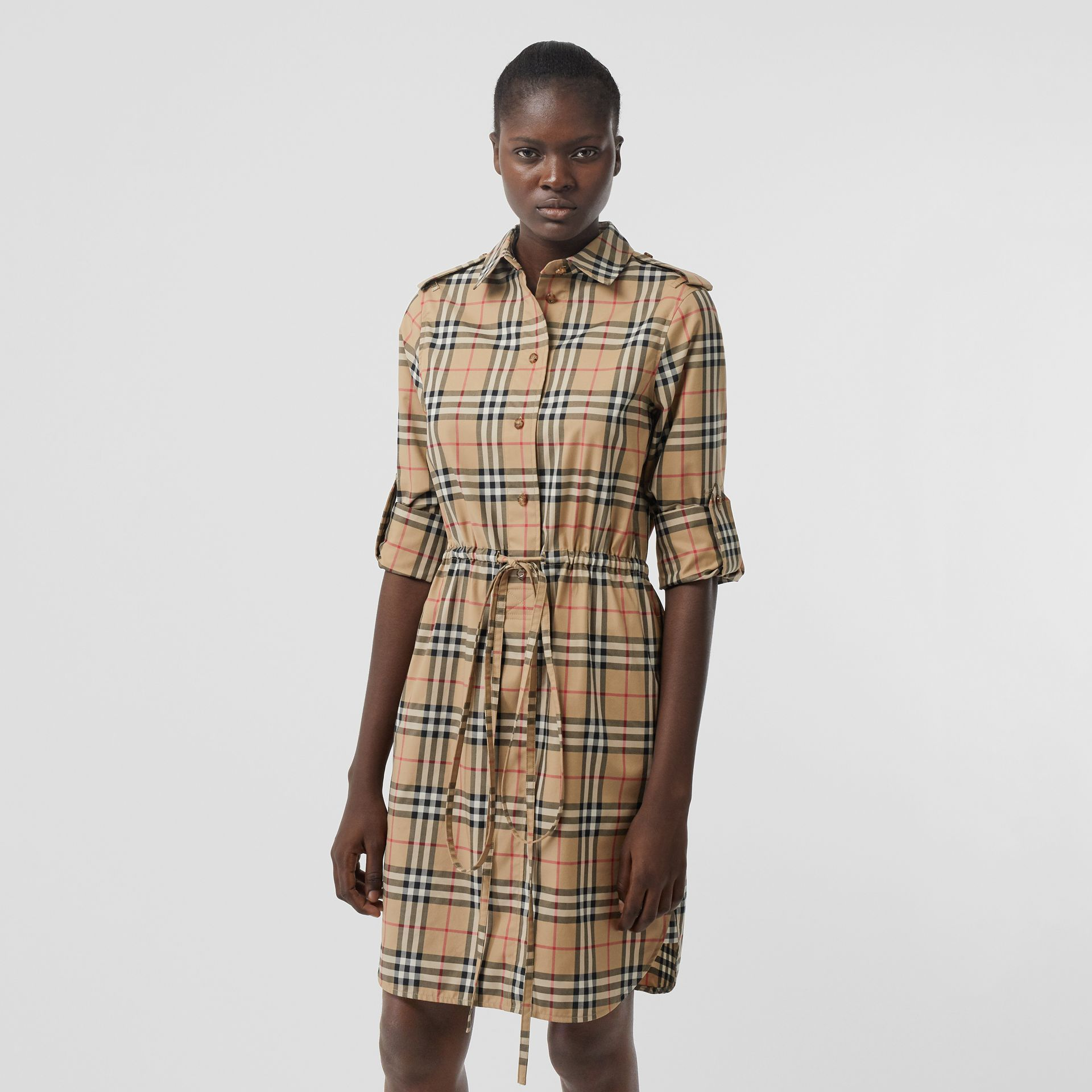 Vintage Check Stretch Cotton Drawcord Shirt Dress in Archive Beige - Women | Burberry - gallery image 4