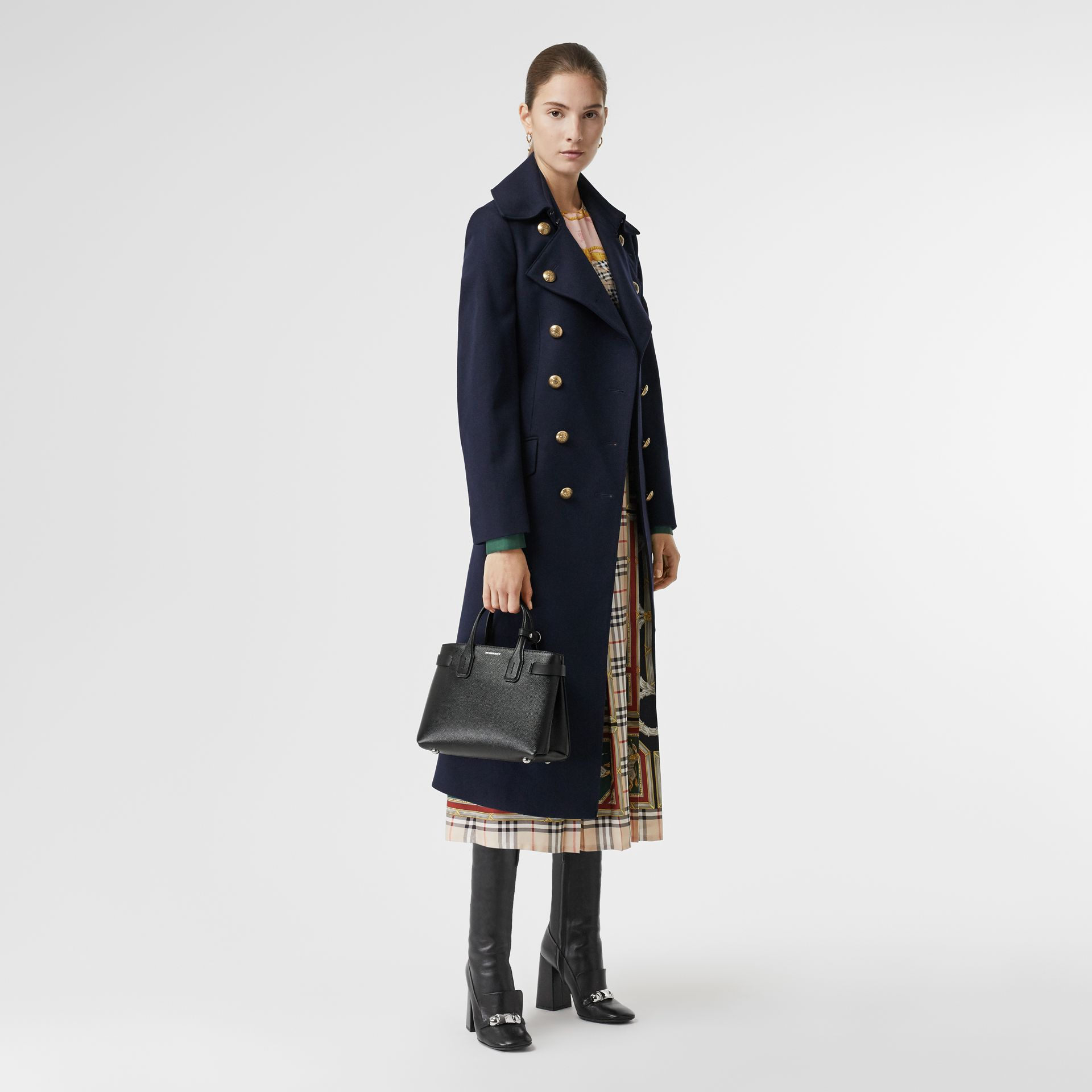 The Small Banner in Leather and Vintage Check in Black - Women | Burberry Singapore - gallery image 2
