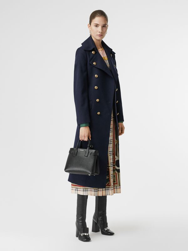 The Small Banner in Leather and Vintage Check in Black - Women | Burberry Singapore - cell image 2