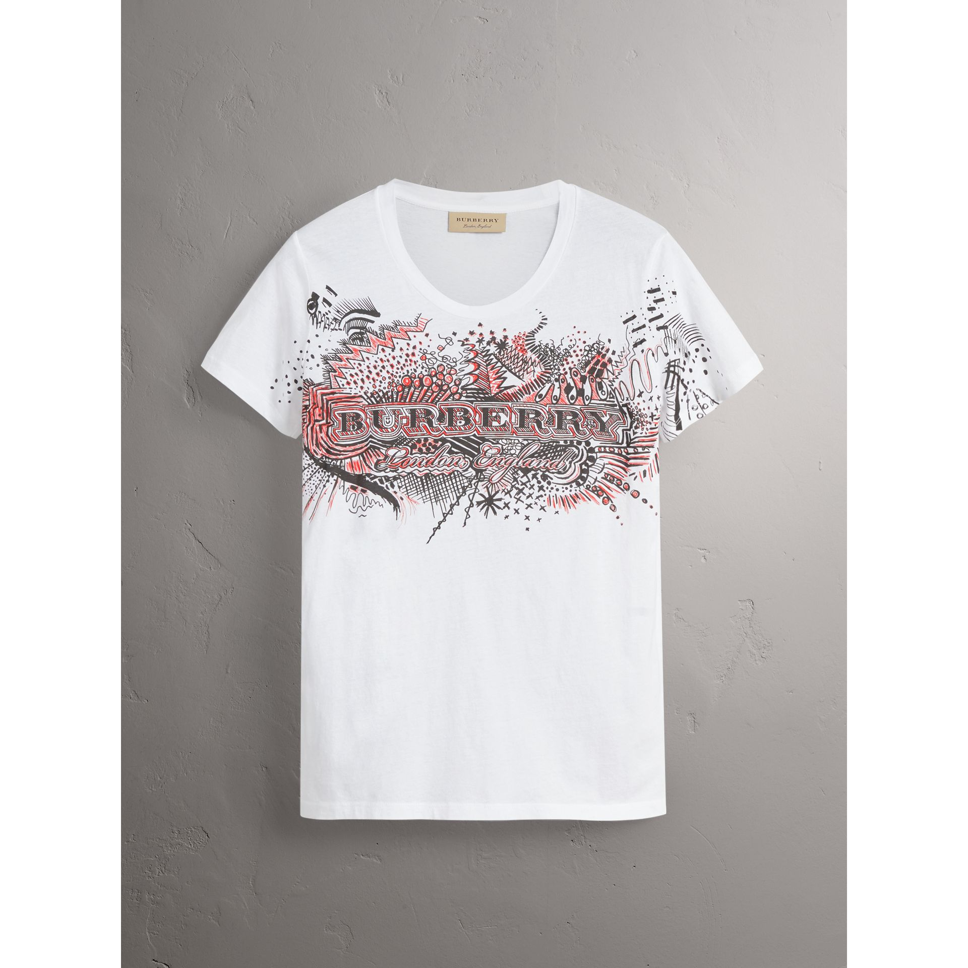 Doodle Print Cotton T-shirt in White - Women | Burberry - gallery image 3