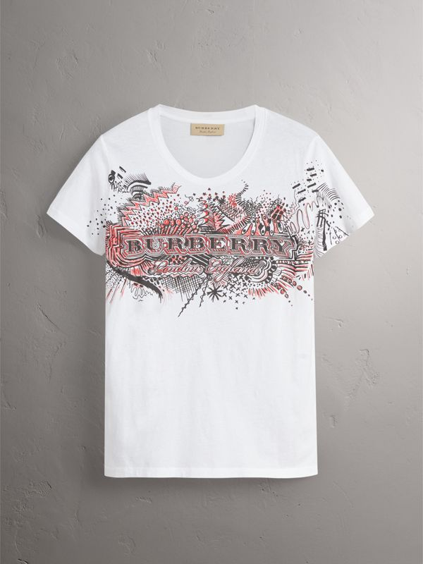 Doodle Print Cotton T-shirt in White - Women | Burberry - cell image 3