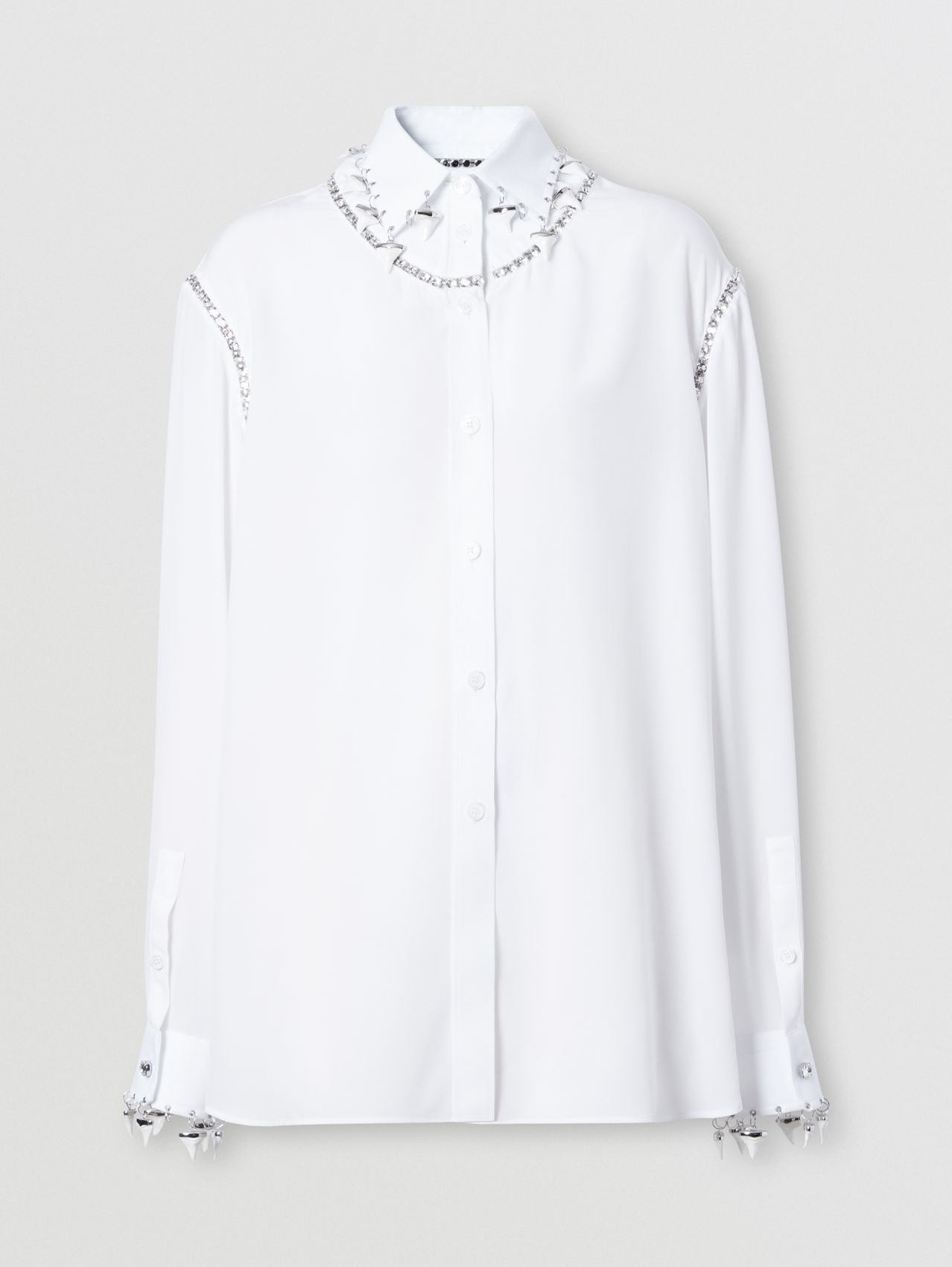 Shark Tooth Charm Crystal-embellished Silk Blouse in Optic White