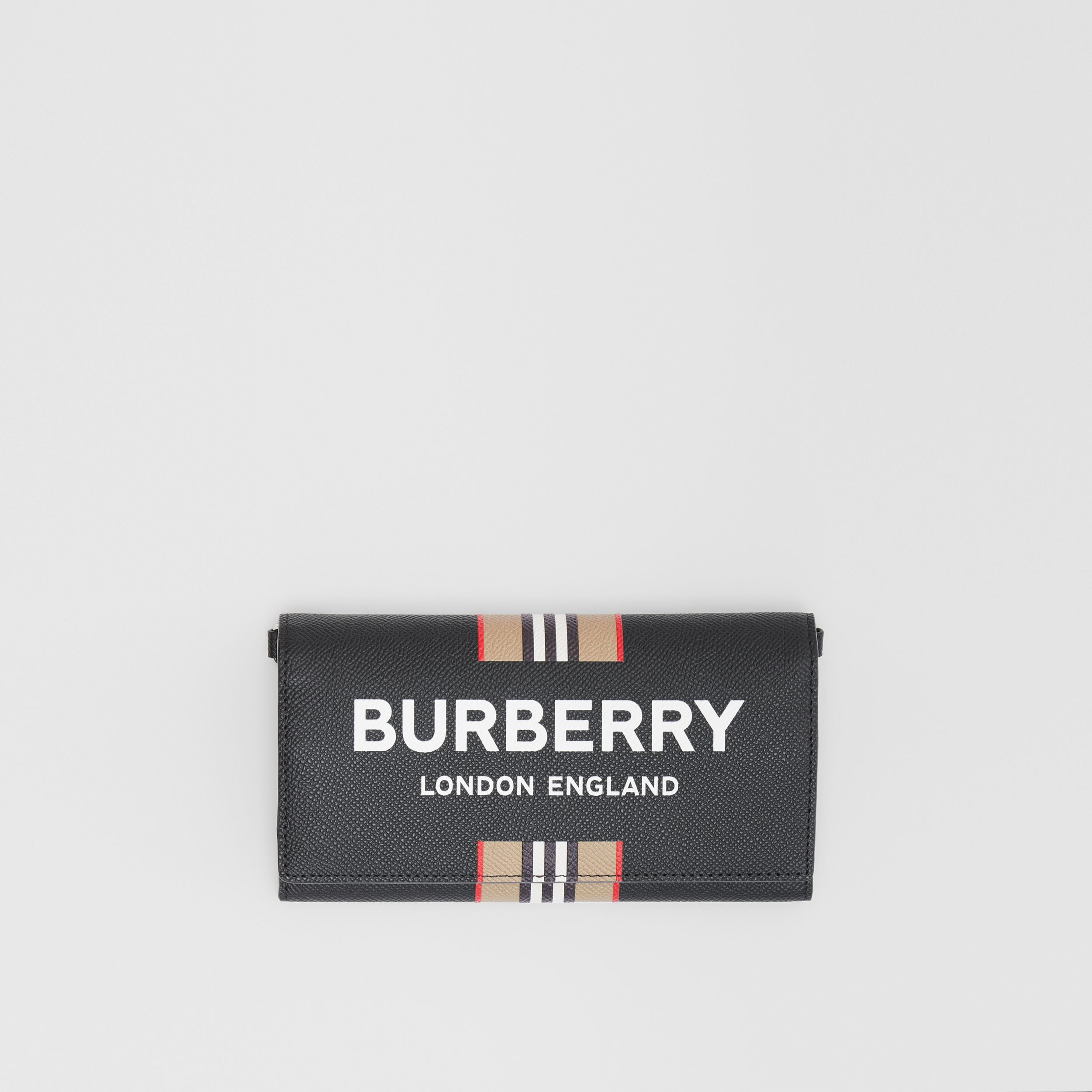 Logo Print Leather Wallet with Detachable Strap in Black - Men | Burberry Singapore - 4