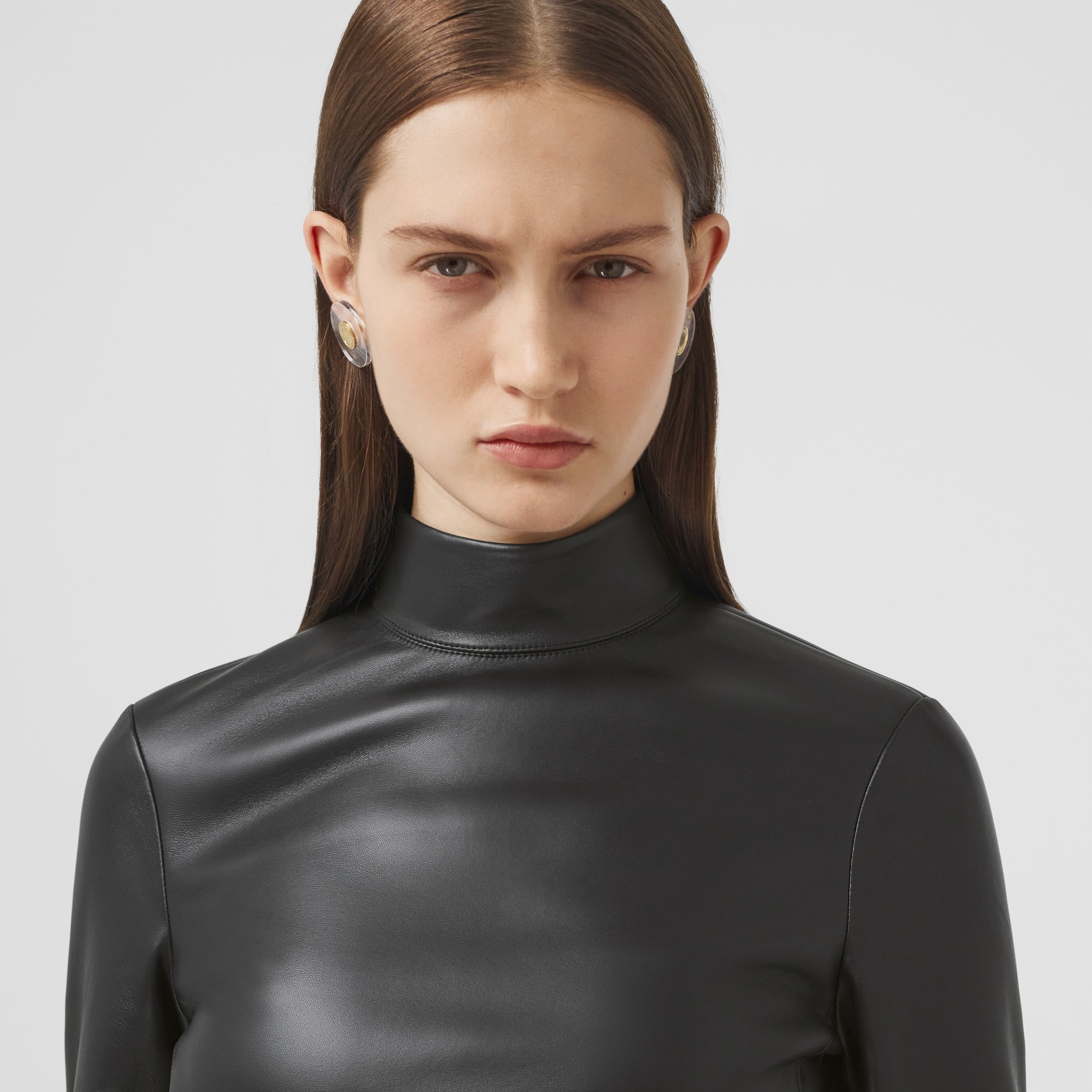 Stretch Lambskin Turtleneck Top in Black - Women | Burberry - 2
