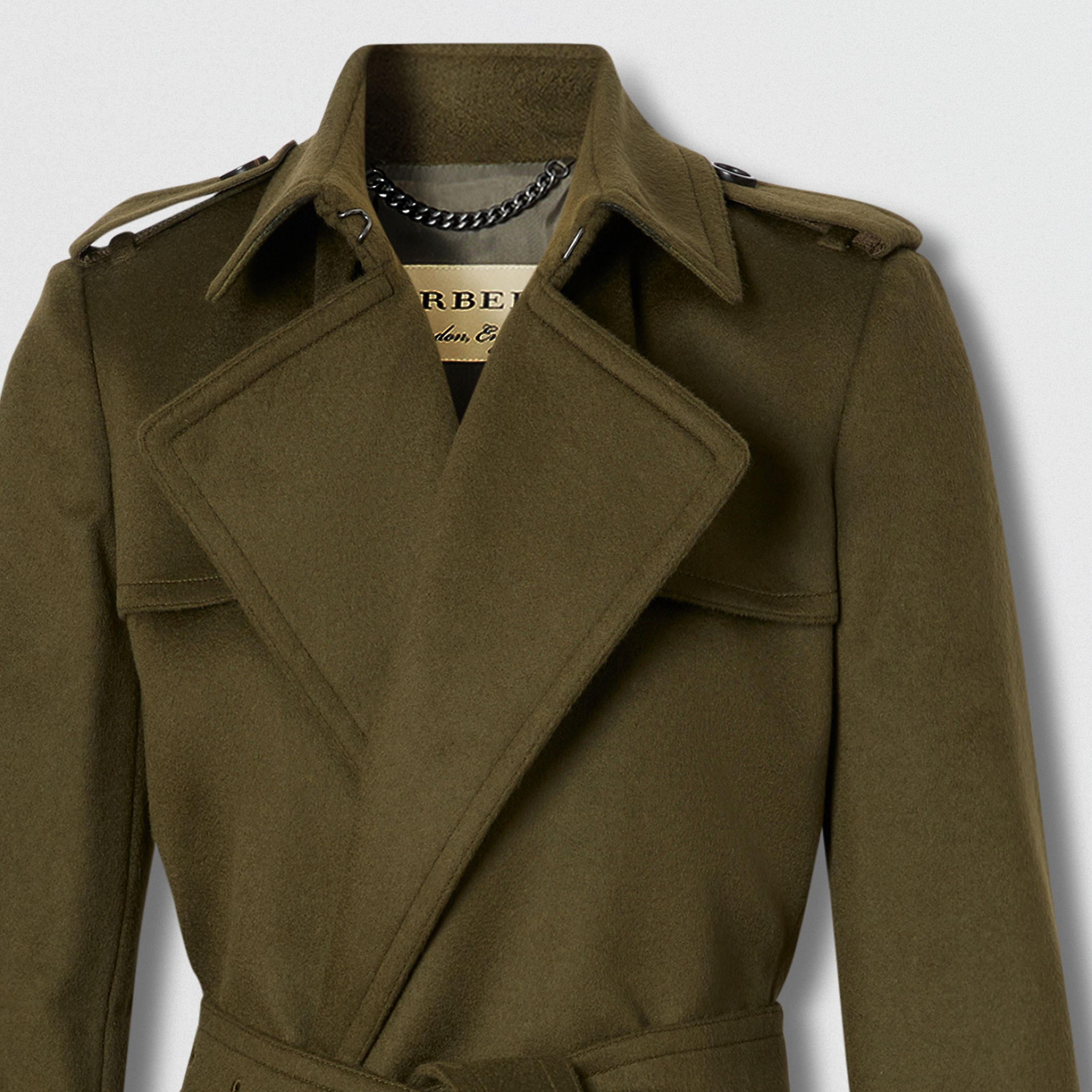 Wool Cashmere Wrap Coat in Dark Olive - Women | Burberry - 2