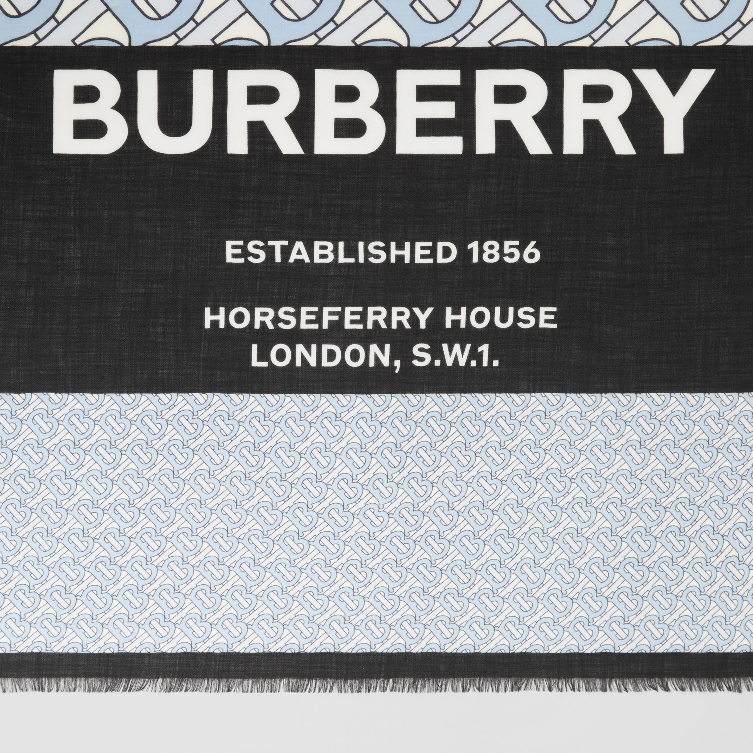 Monogram Print Cashmere Large Square Scarf in Pale Blue | Burberry - 2